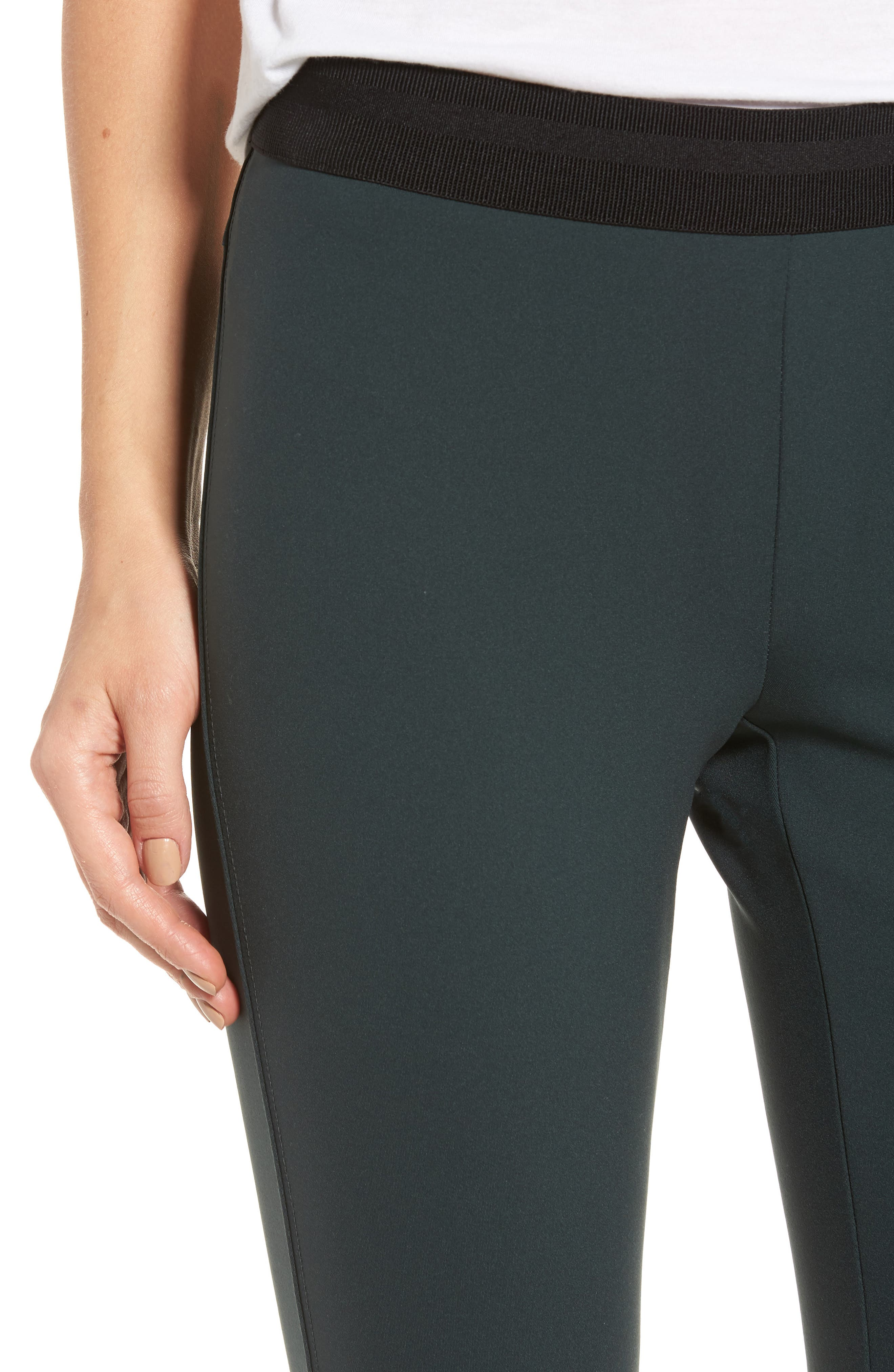 Crop Scuba Leggings,                             Alternate thumbnail 4, color,                             Black Bamboo