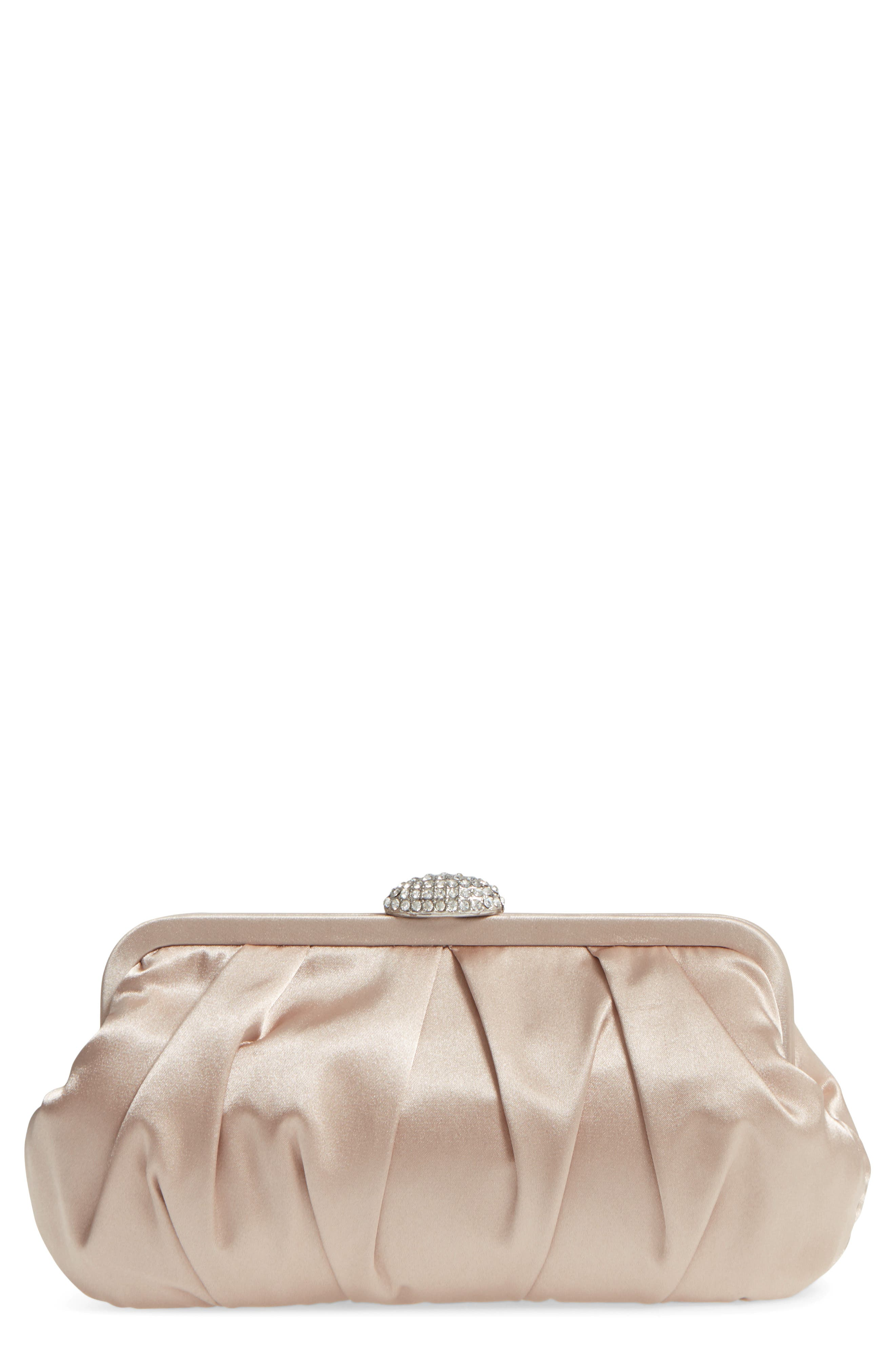 Concord Pleated Satin Frame Clutch,                             Main thumbnail 1, color,                             Champagne