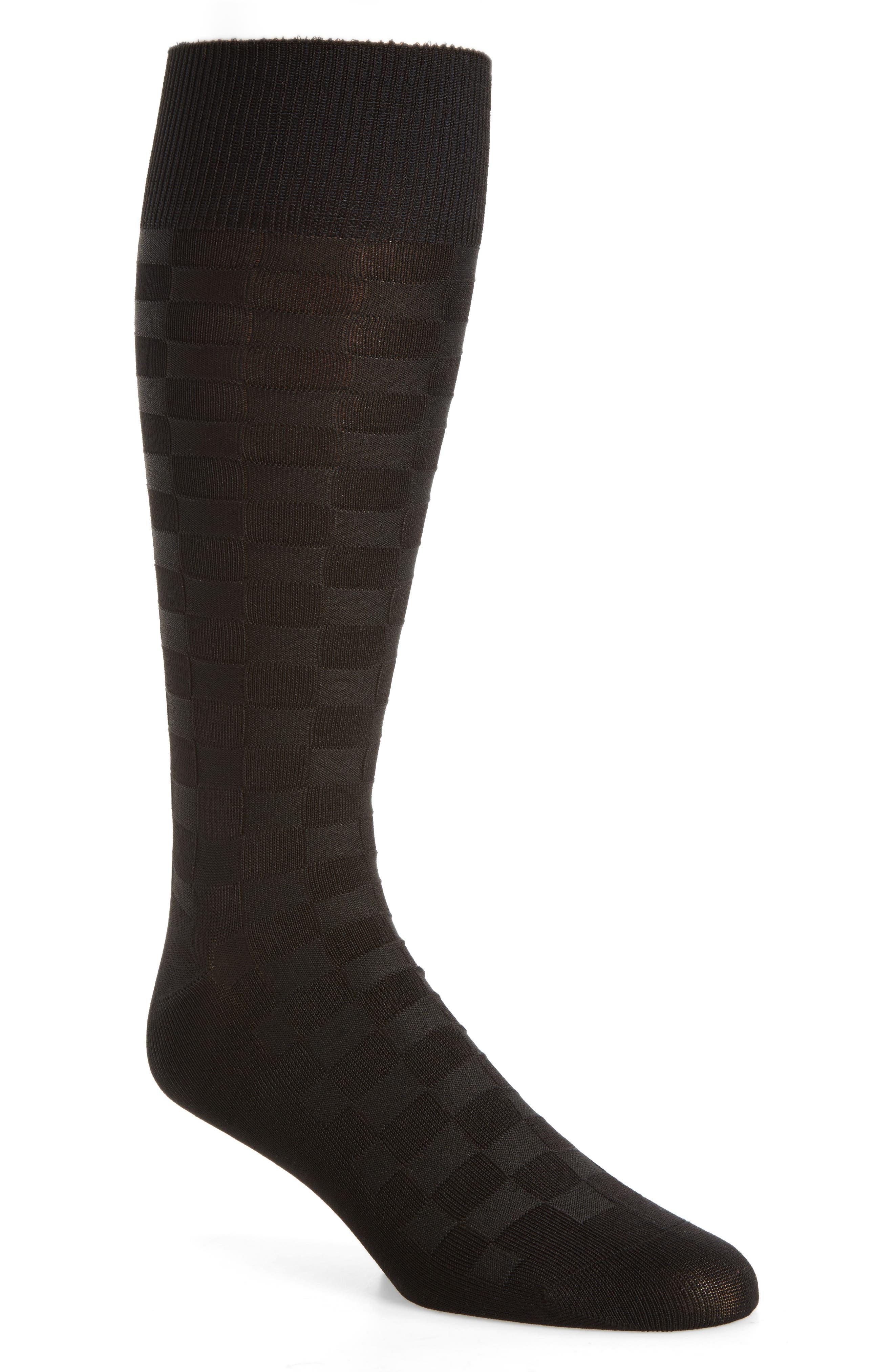 Grid Socks,                             Main thumbnail 1, color,                             Black