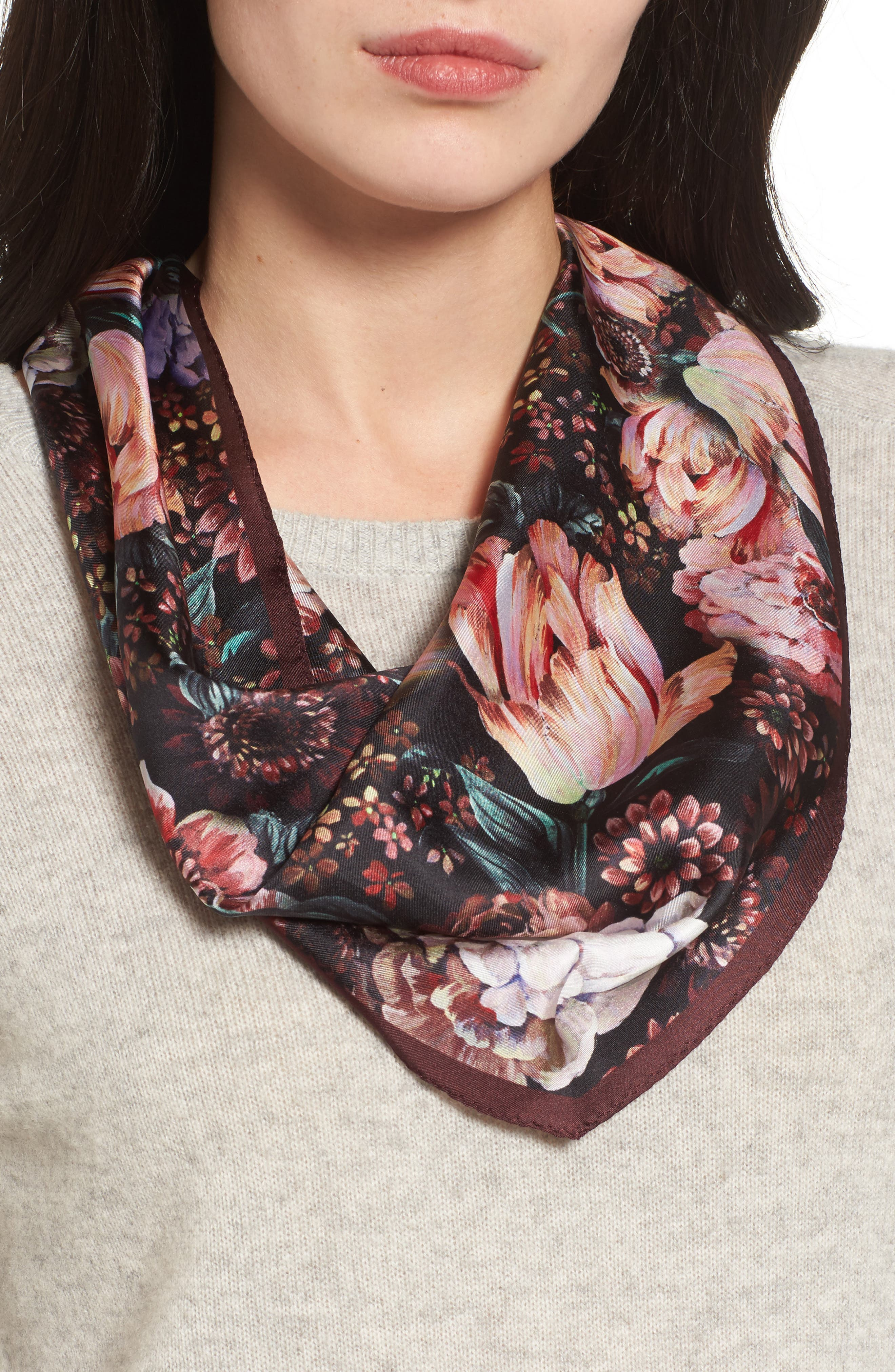 Main Image - Echo Winter Floral Diamond Silk Scarf