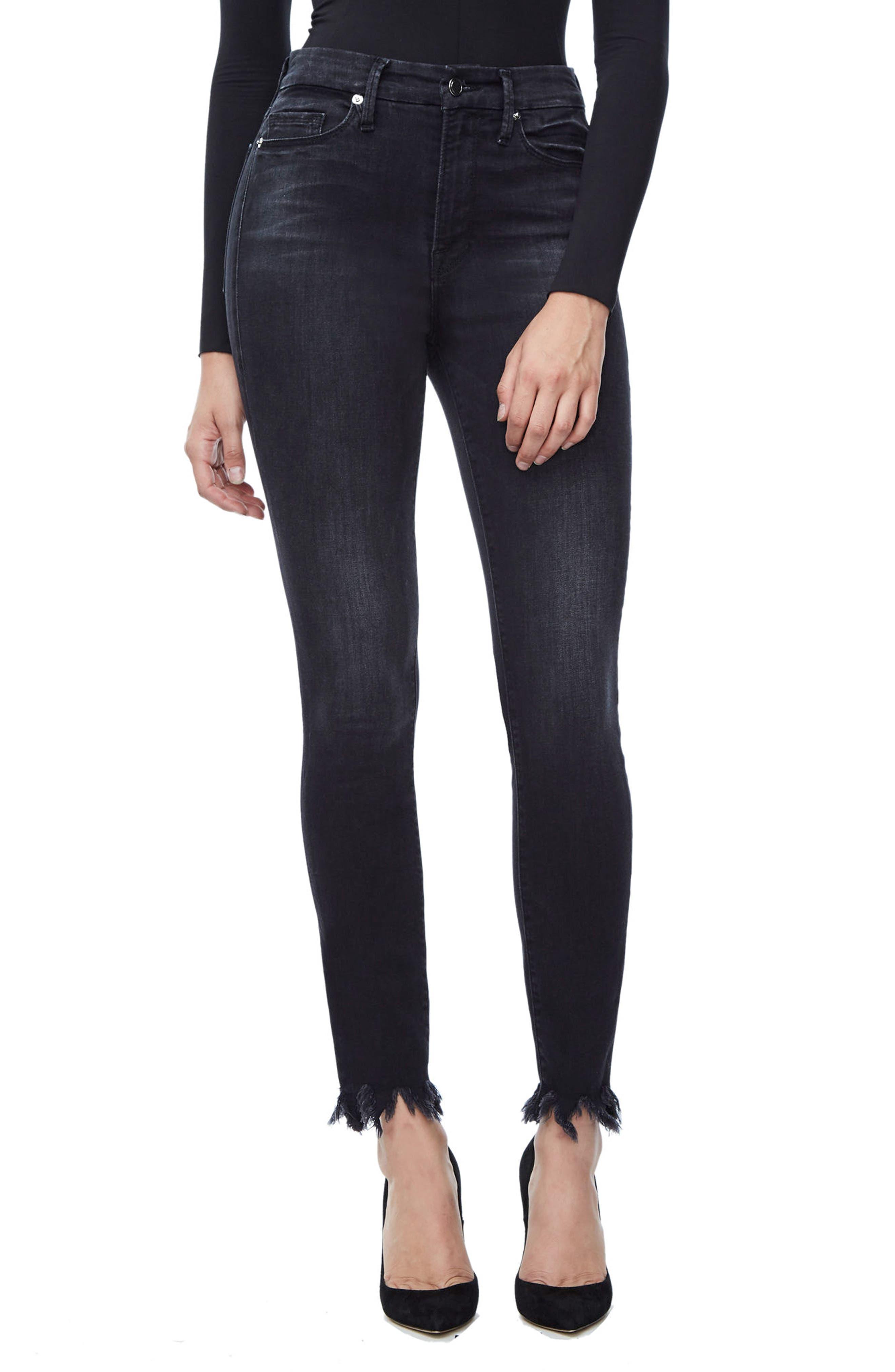 Alternate Image 3  - Good American Good Waist Fray Hem Skinny Jeans (Black 012) (Extended Sizes)