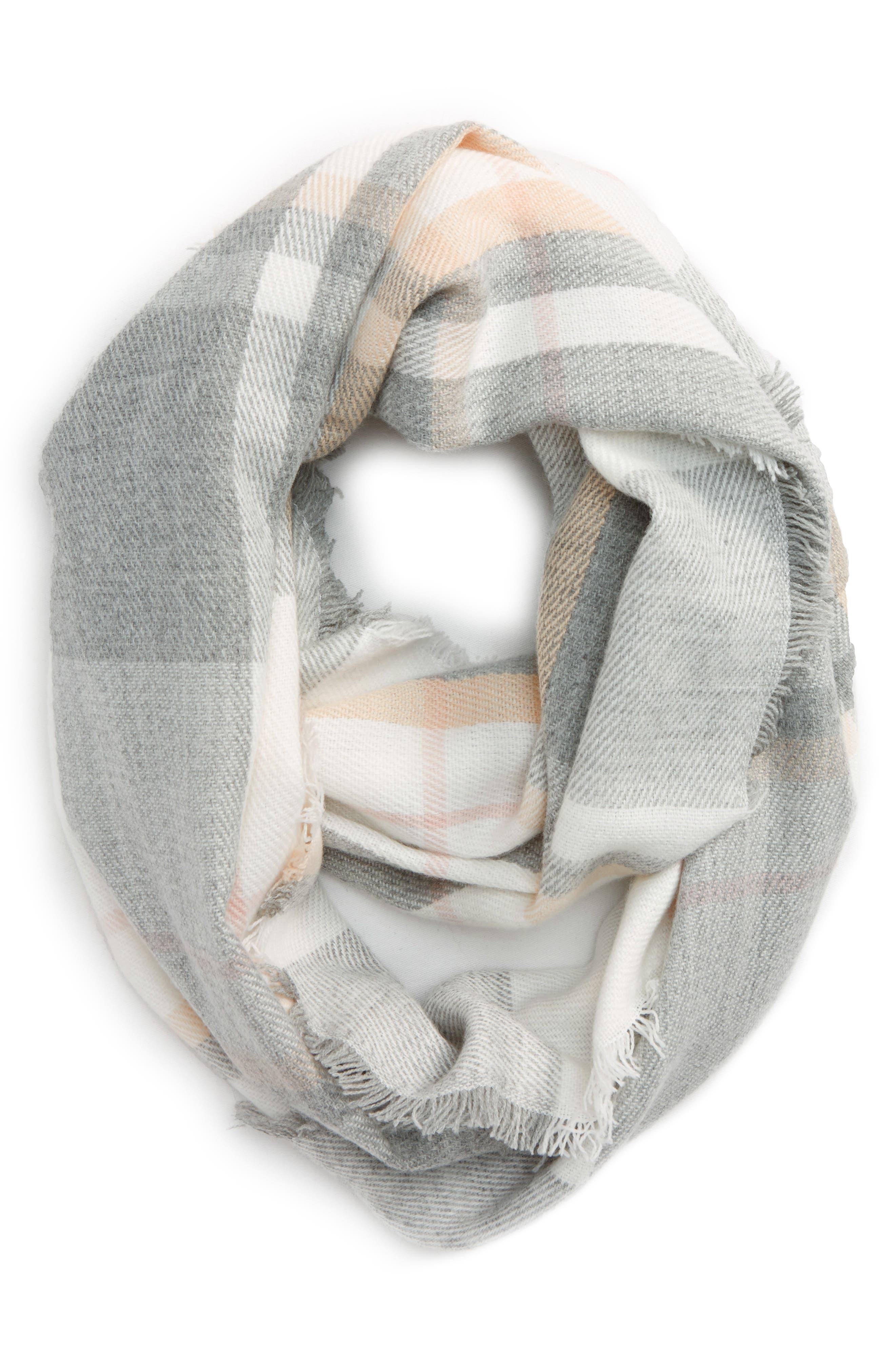 Tonal Plaid Infinity Scarf,                         Main,                         color, Grey/ Ivory