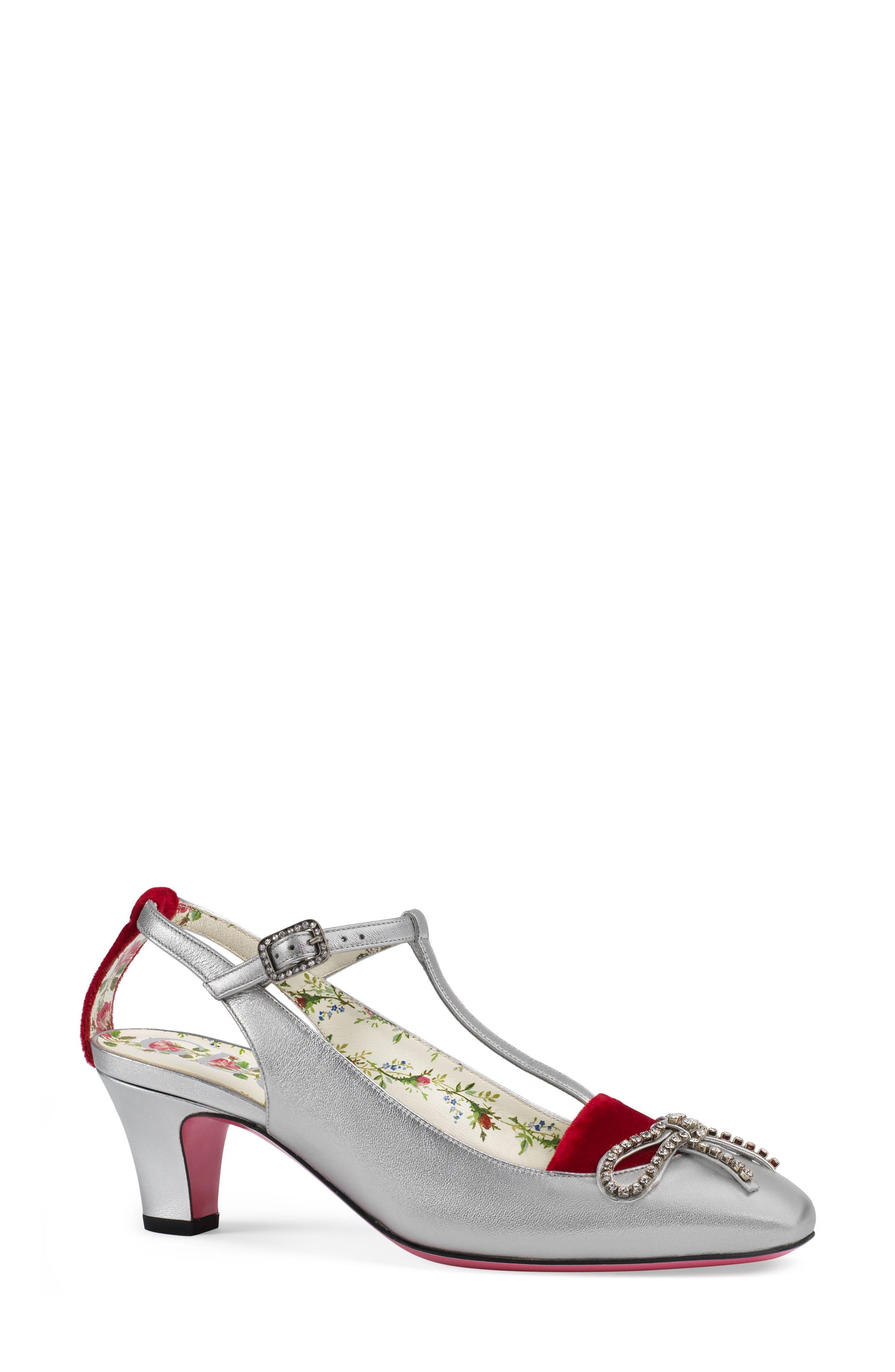 Anita Crystal Bow T-Strap Pump,                         Main,                         color, Silver