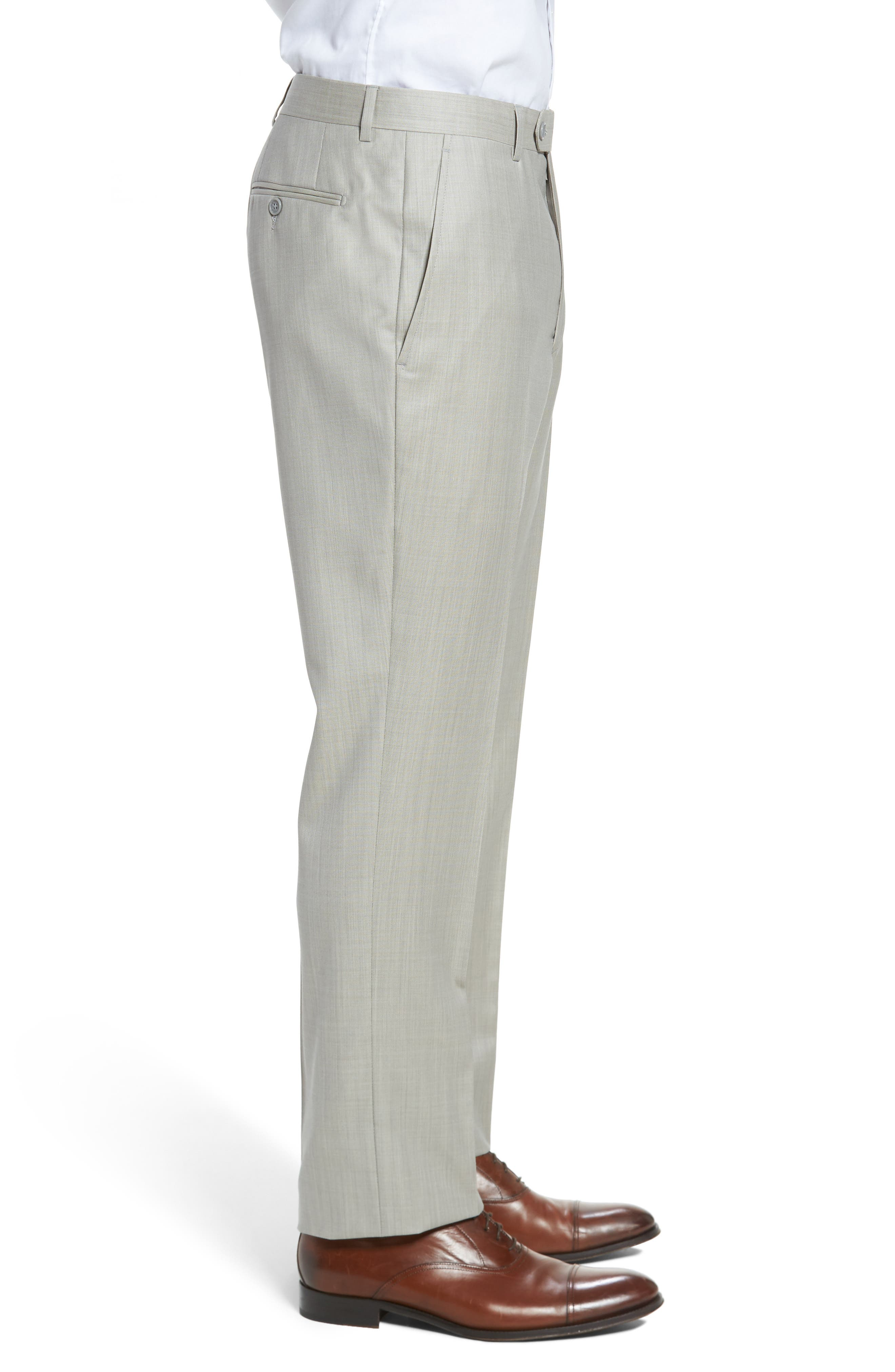 Flat Front Solid Wool Trousers,                             Alternate thumbnail 3, color,                             Sand