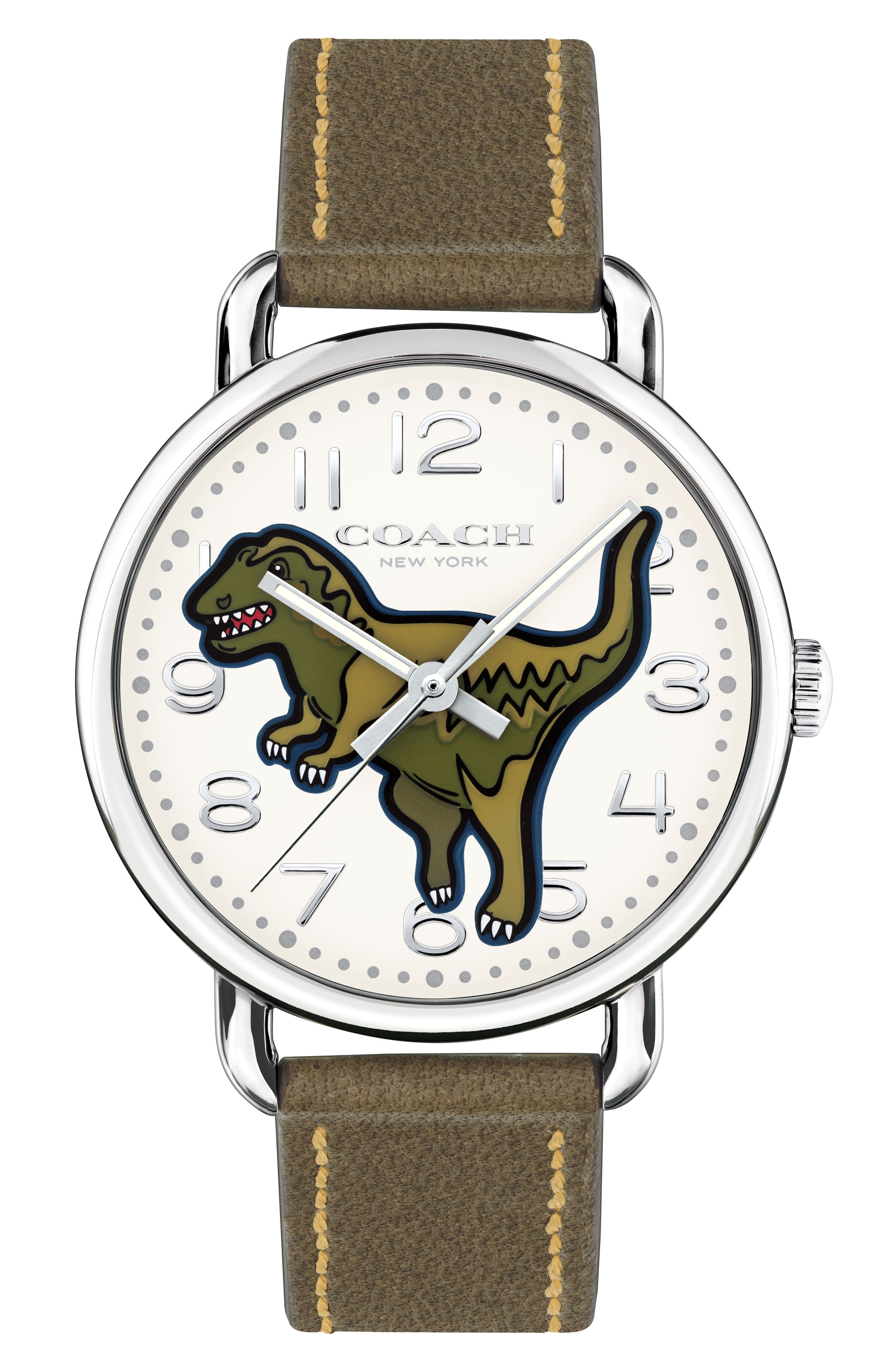Delancey T-Rex Leather Strap Watch, 40mm,                         Main,                         color, Green/ Beige/ Silver