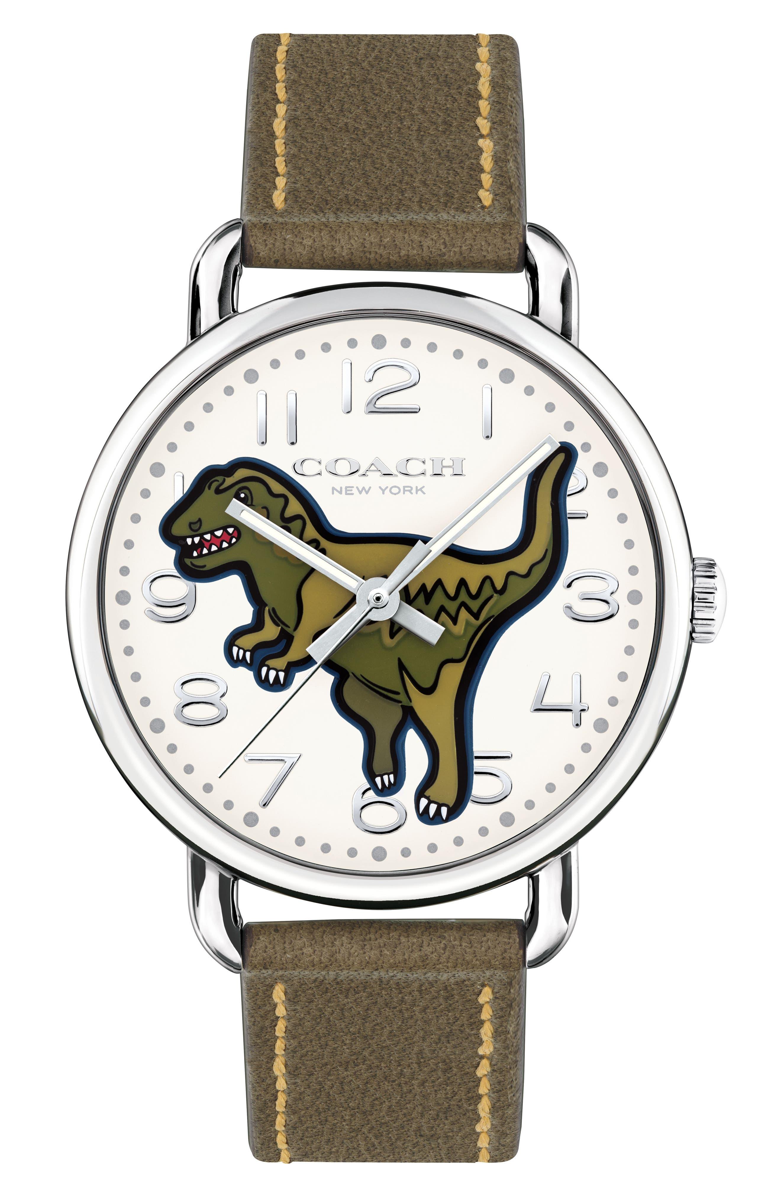 COACH Delancey T-Rex Leather Strap Watch, 40mm