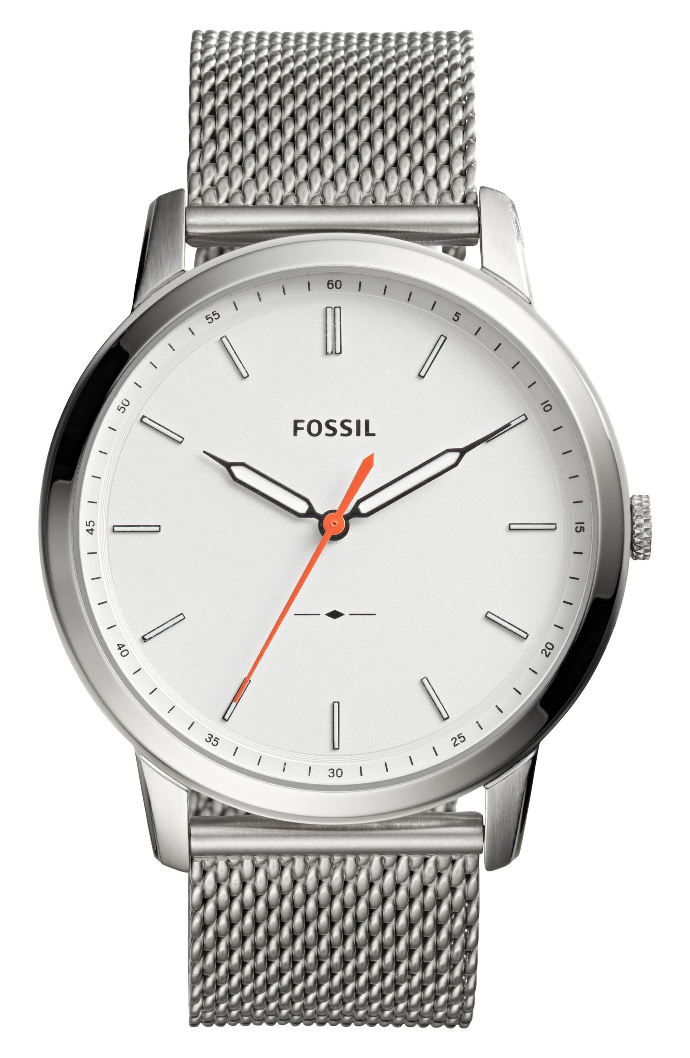 Fossil Minimalist Mesh Bracelet Watch, 44mm
