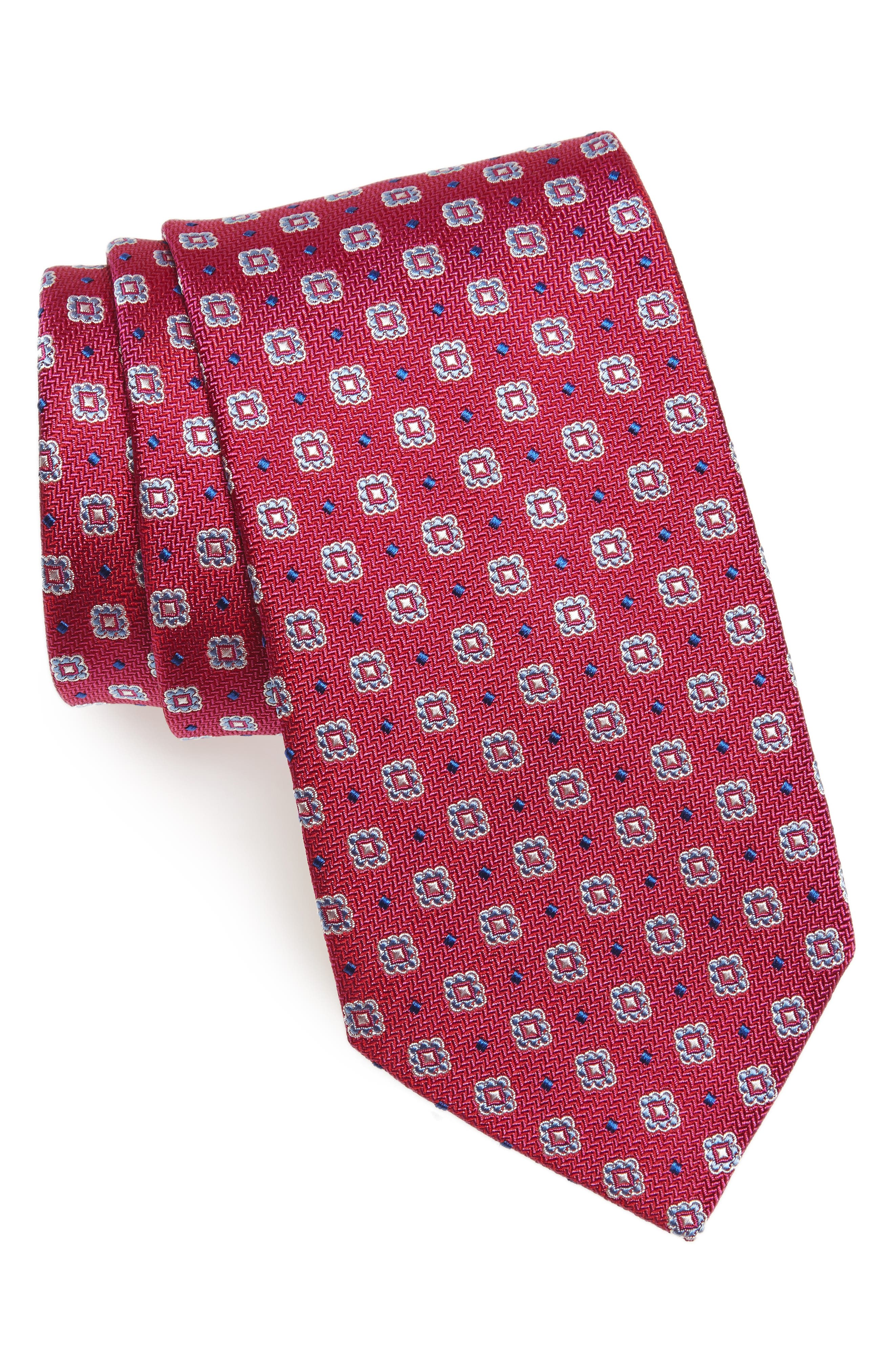Neat Silk Tie,                         Main,                         color, Berry