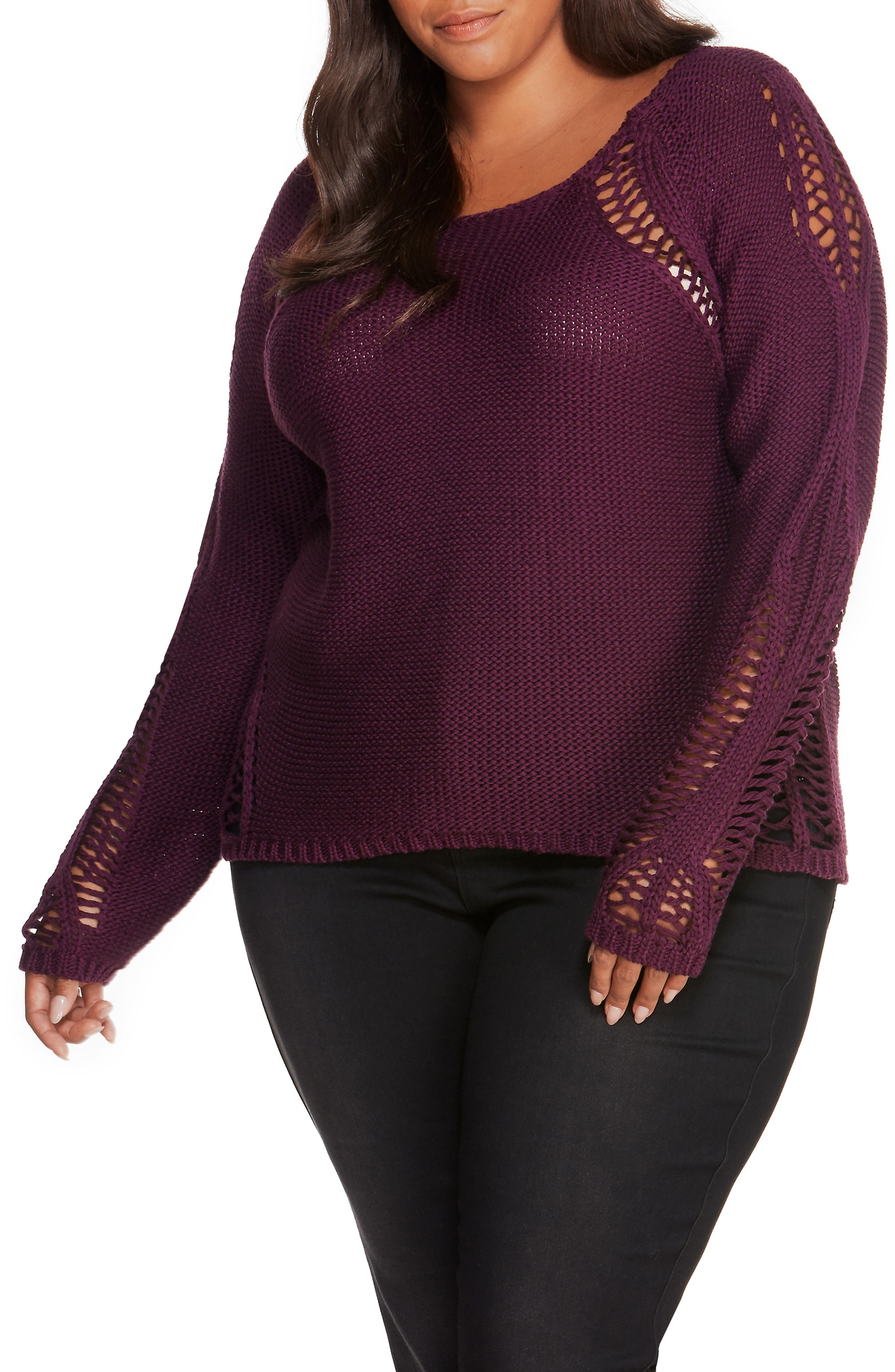 Open Stitch Sweater,                             Main thumbnail 1, color,                             Winter Bloom