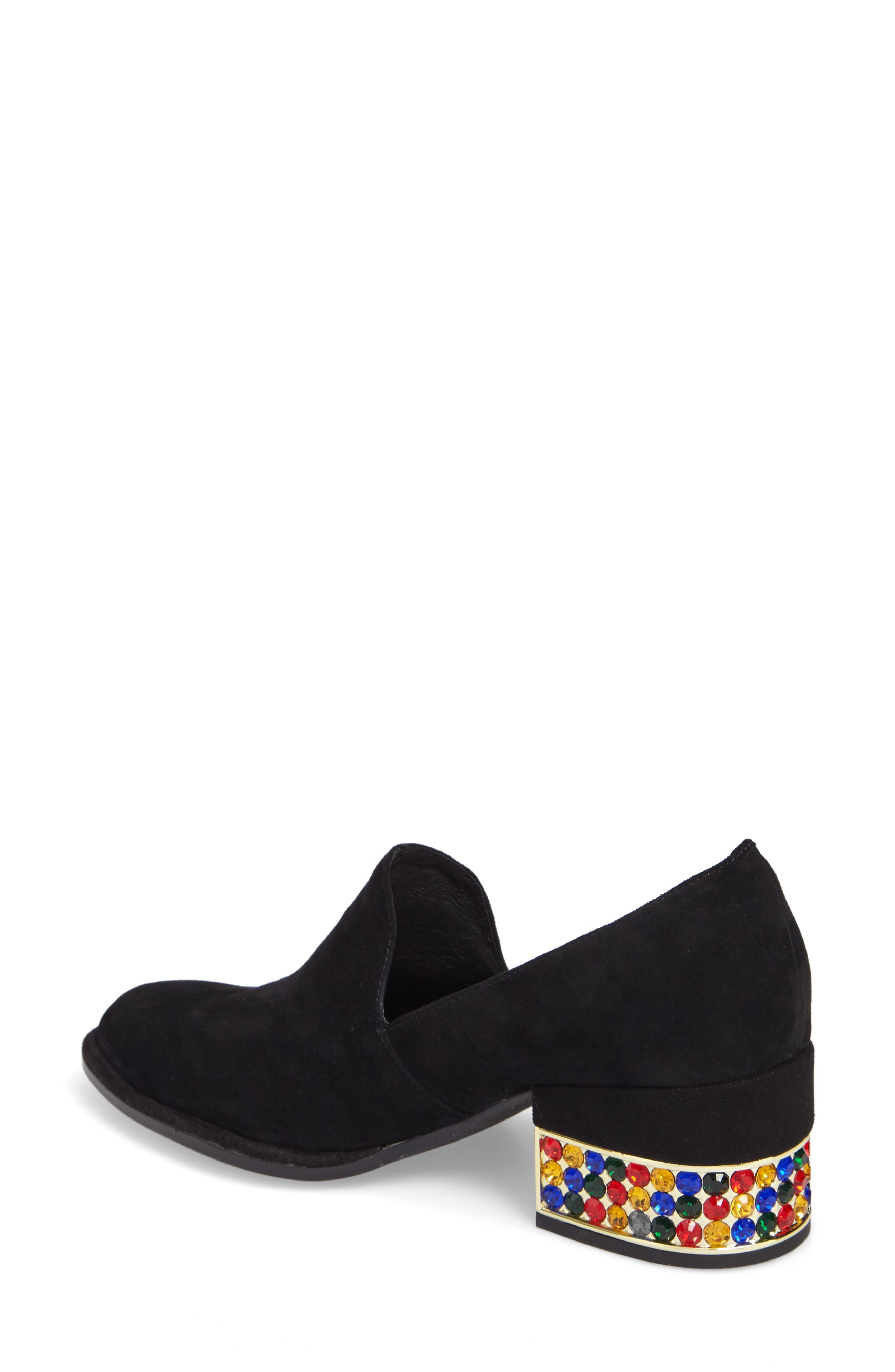 Serlin Jeweled Heel Loafer,                             Alternate thumbnail 2, color,                             Black Suede Bright Combo