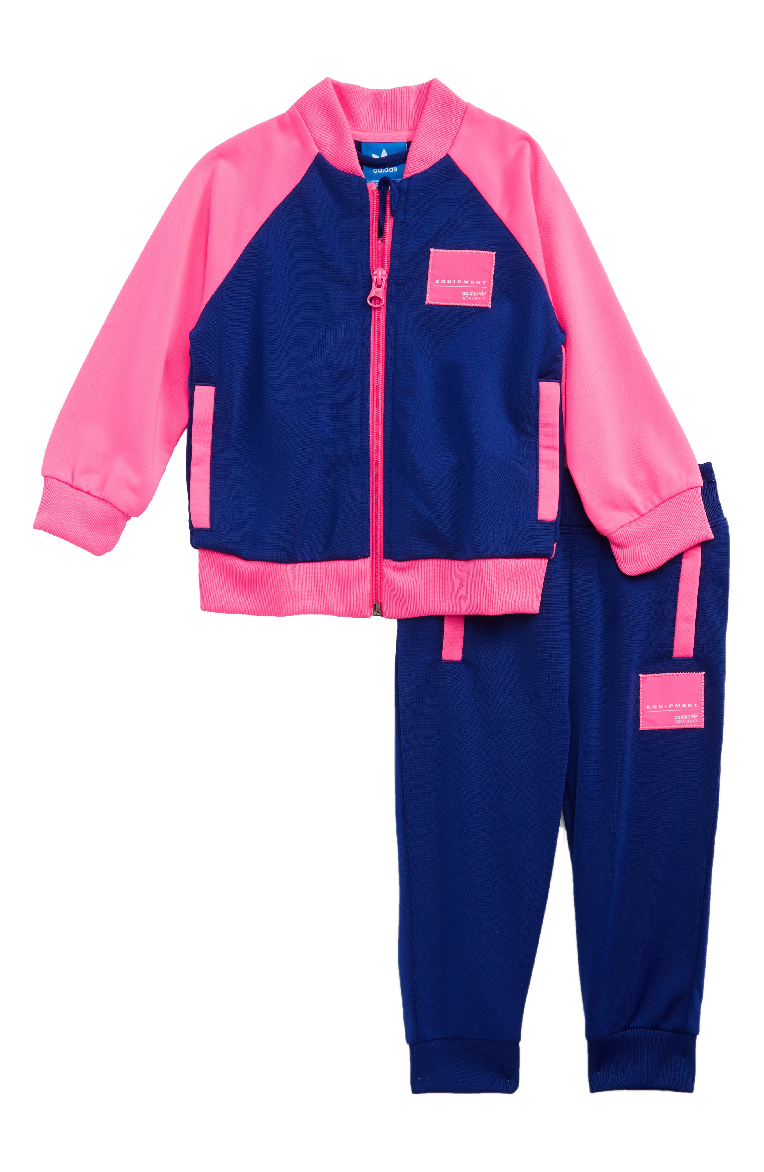 EQT Track Jacket & Pants,                         Main,                         color, Mystery Ink/ Solar Pink