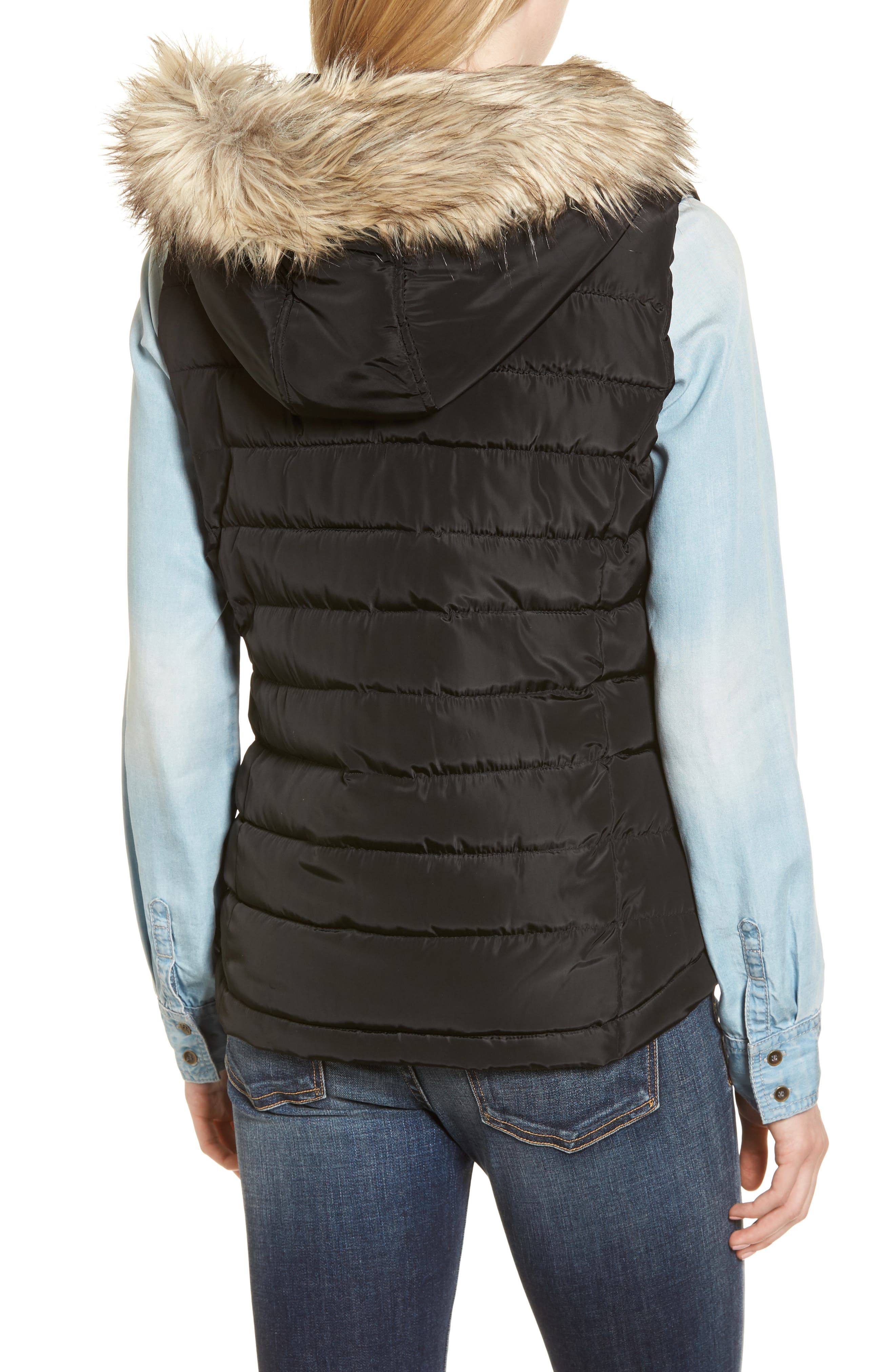 Faux Fur Trim Hooded Quilted Vest,                             Alternate thumbnail 2, color,                             Black