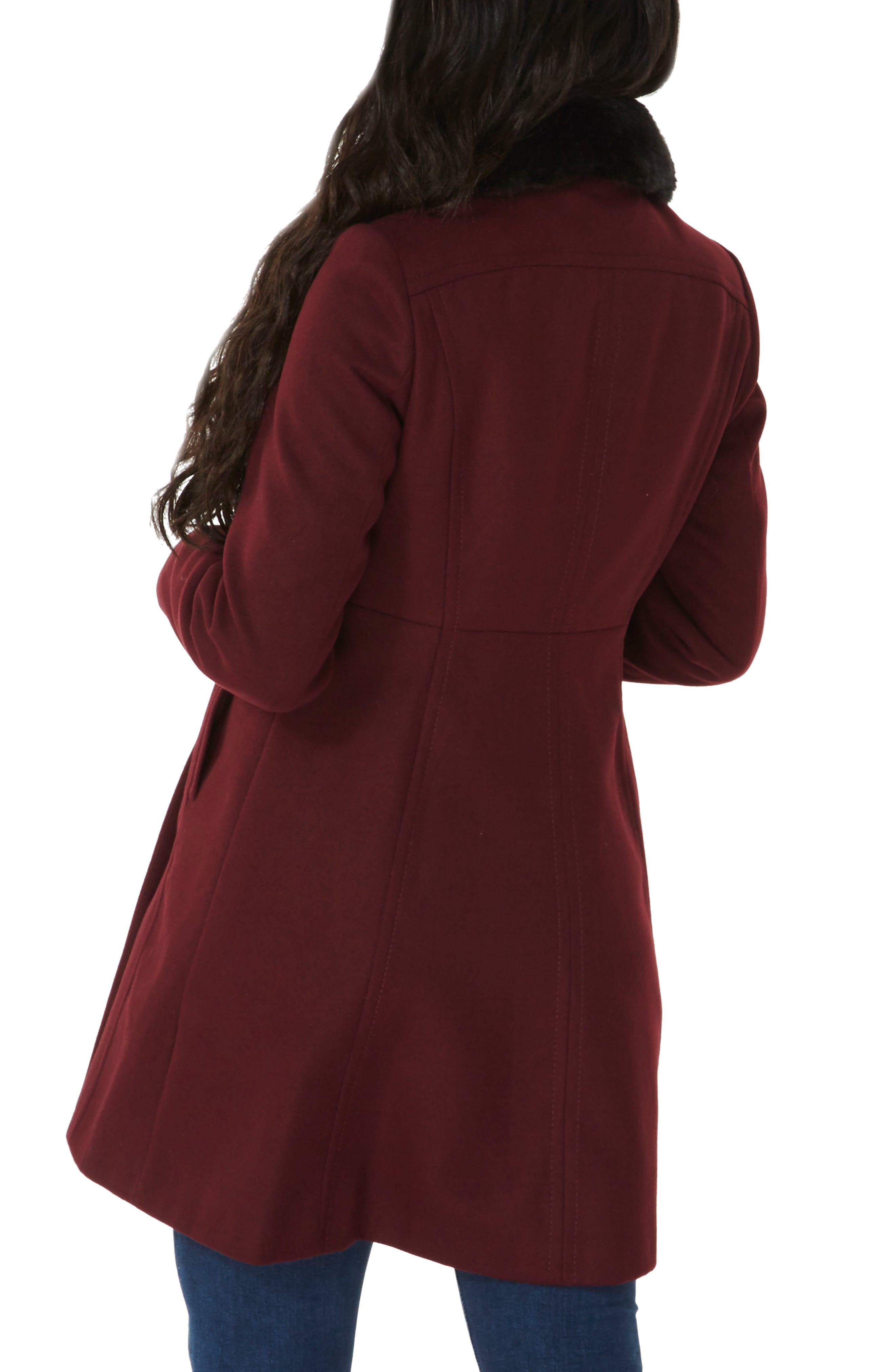 Faux Fur Collar Double Breasted Coat,                             Alternate thumbnail 3, color,                             Berry Red