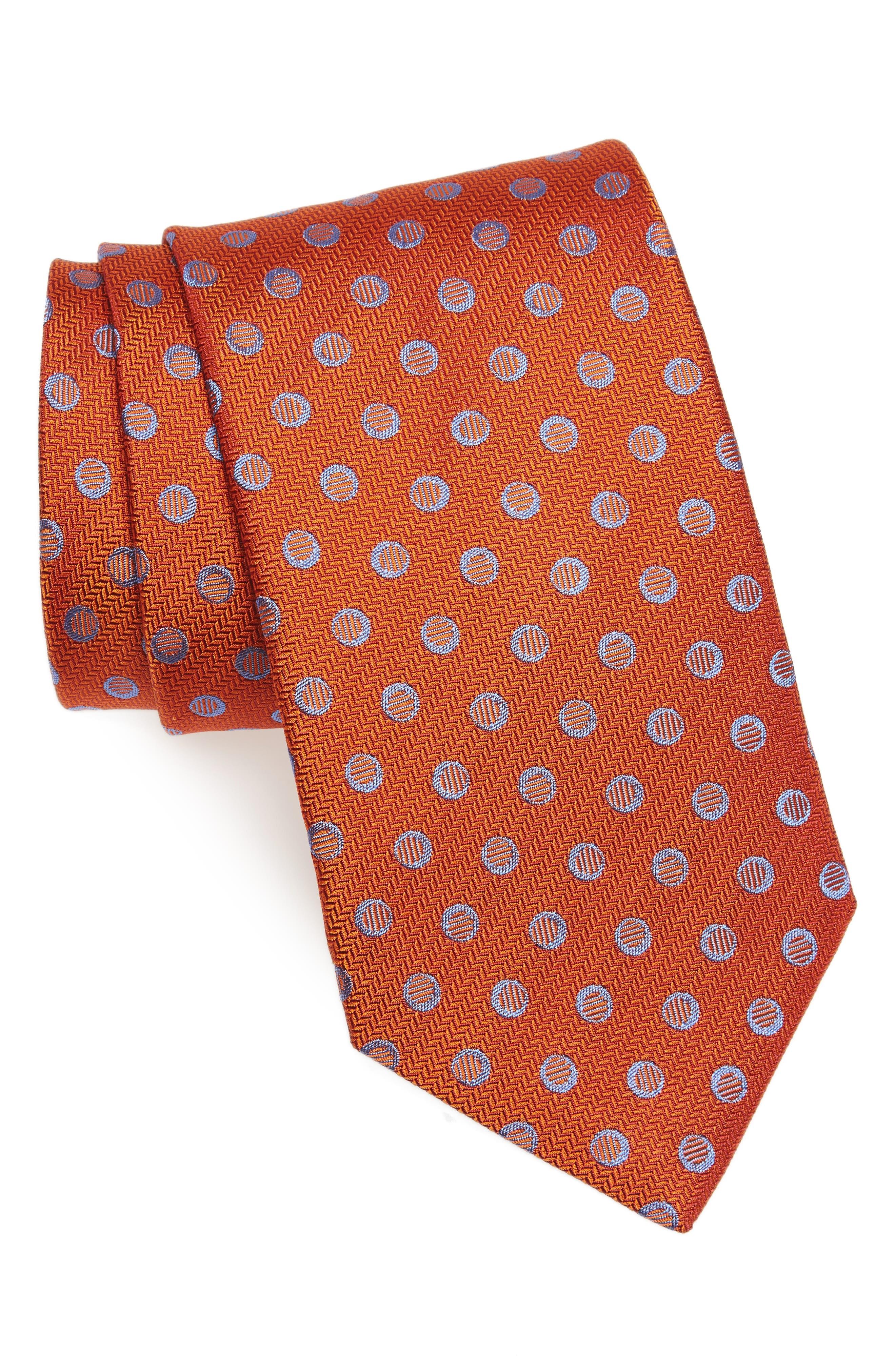 Dot Silk Tie,                             Main thumbnail 1, color,                             Pumpkin