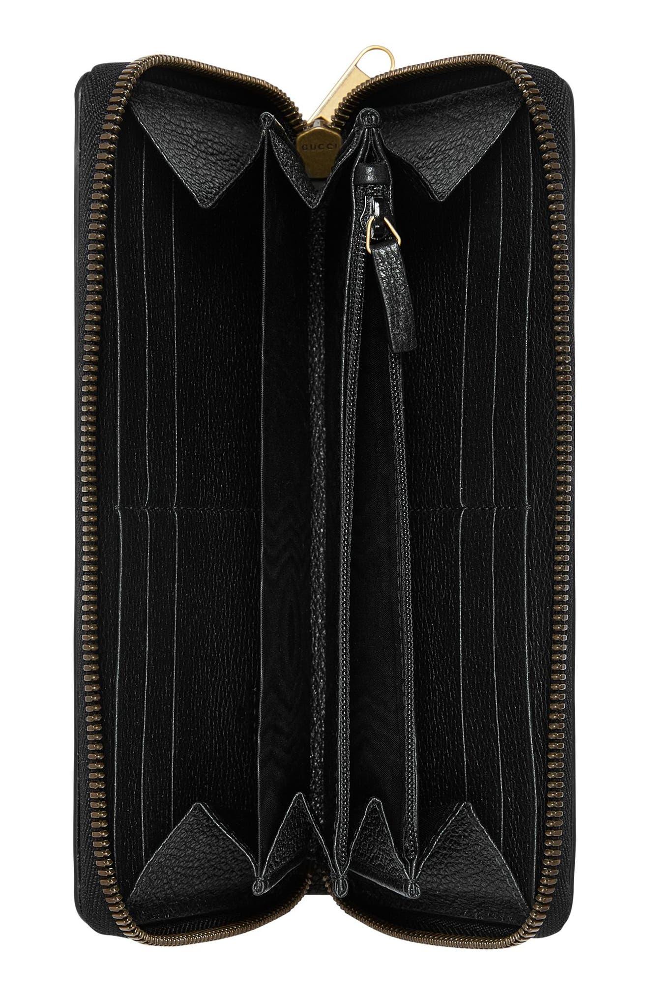 Logo Leather Zip-Around Wallet,                             Alternate thumbnail 2, color,                             Nero