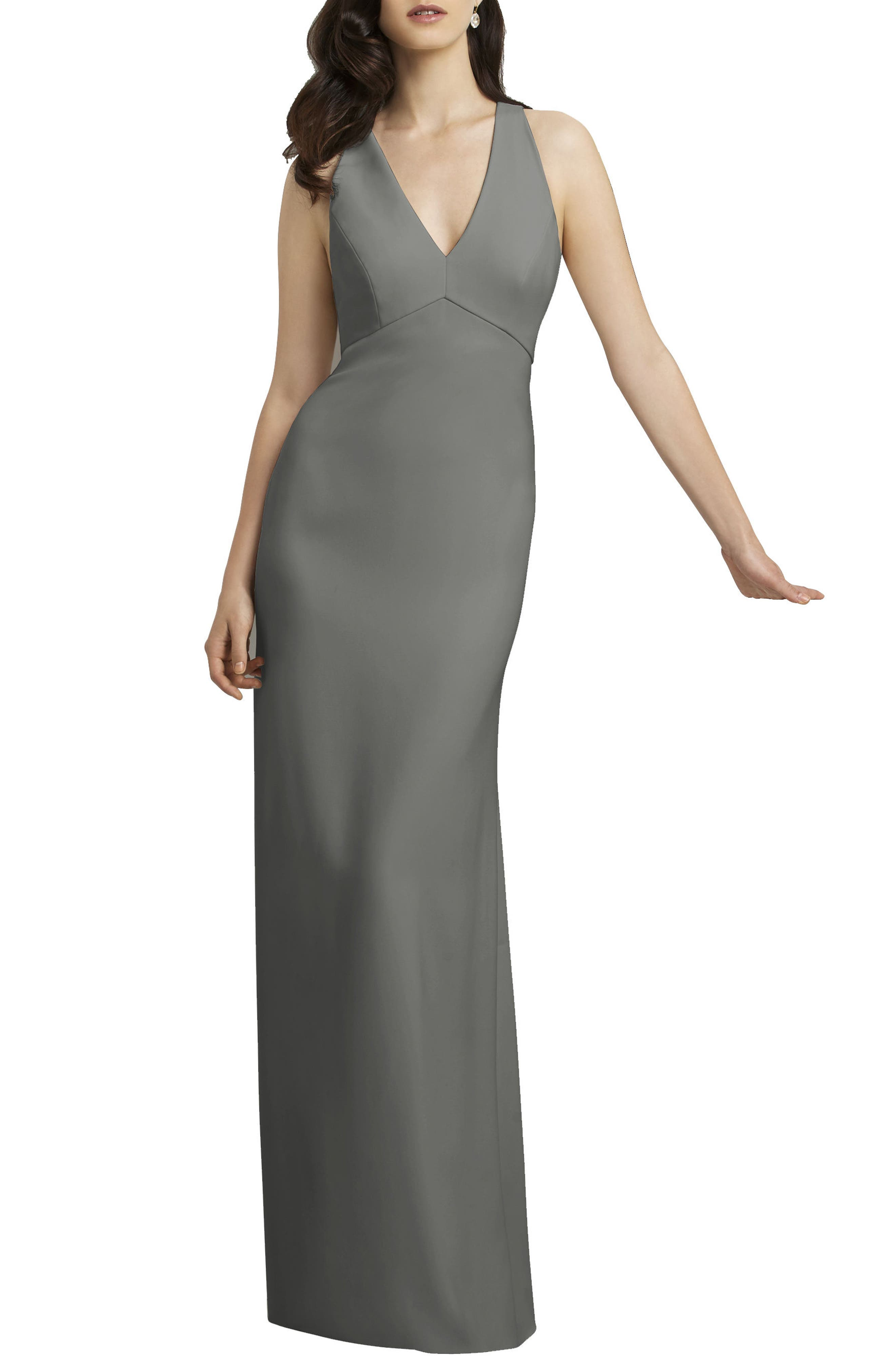Crepe Gown,                             Main thumbnail 1, color,                             Charcoal Grey