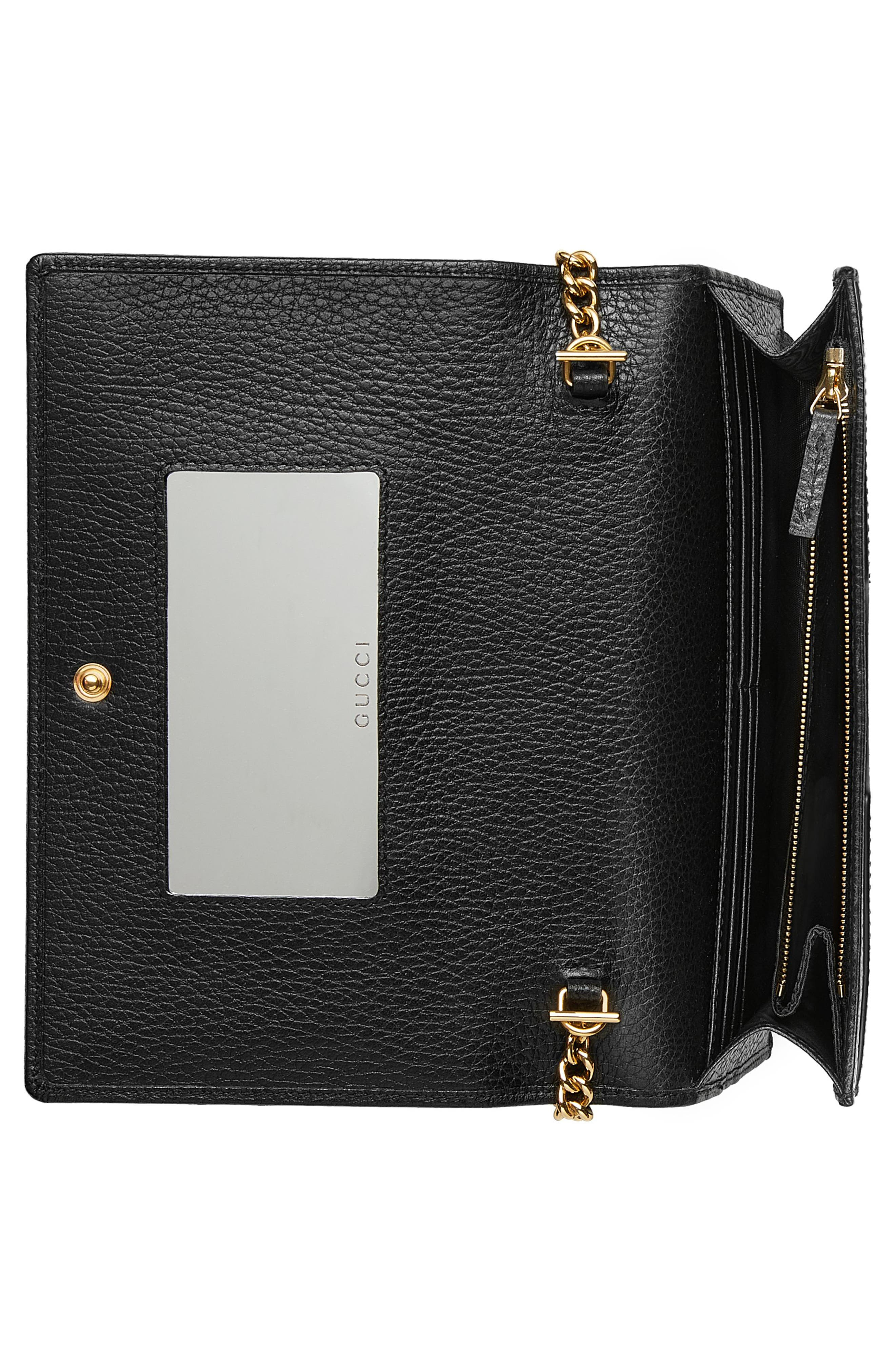 Petite Marmont Leather Wallet on a Chain,                             Alternate thumbnail 2, color,                             Nero