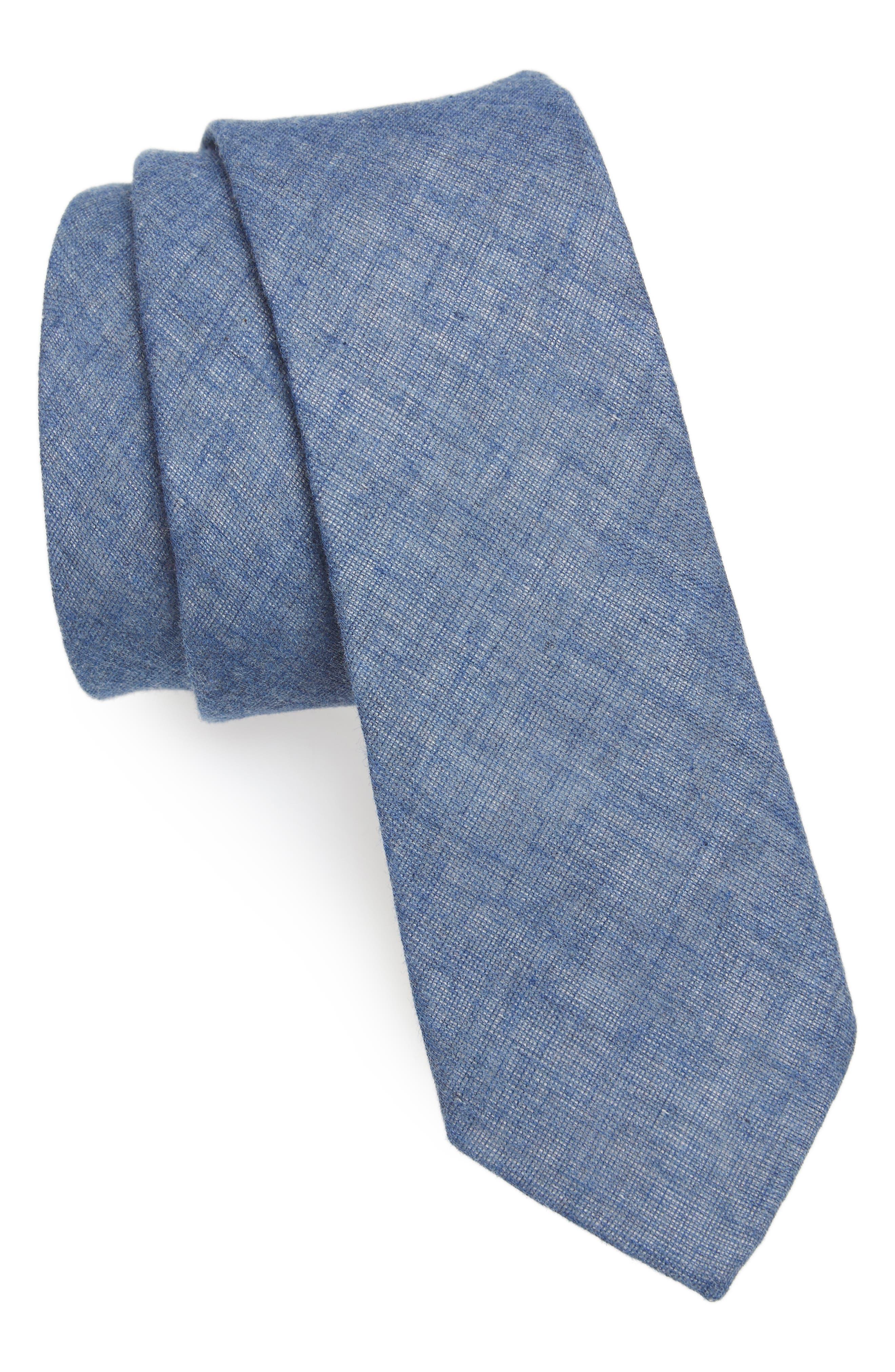 Bedell Solid Cotton Tie,                         Main,                         color, Navy