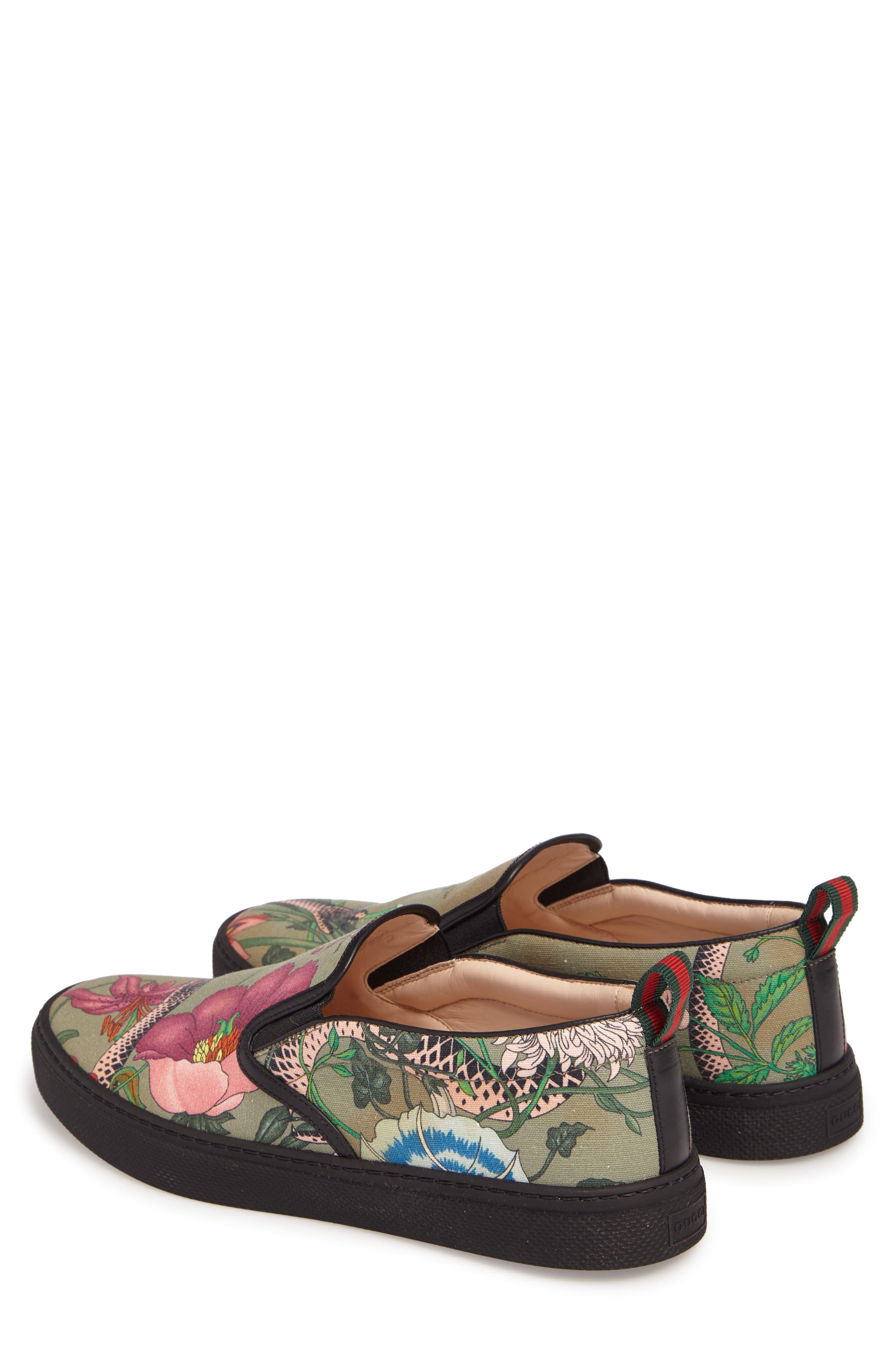 Flora Snake Slip-On Sneaker,                             Alternate thumbnail 3, color,                             Green
