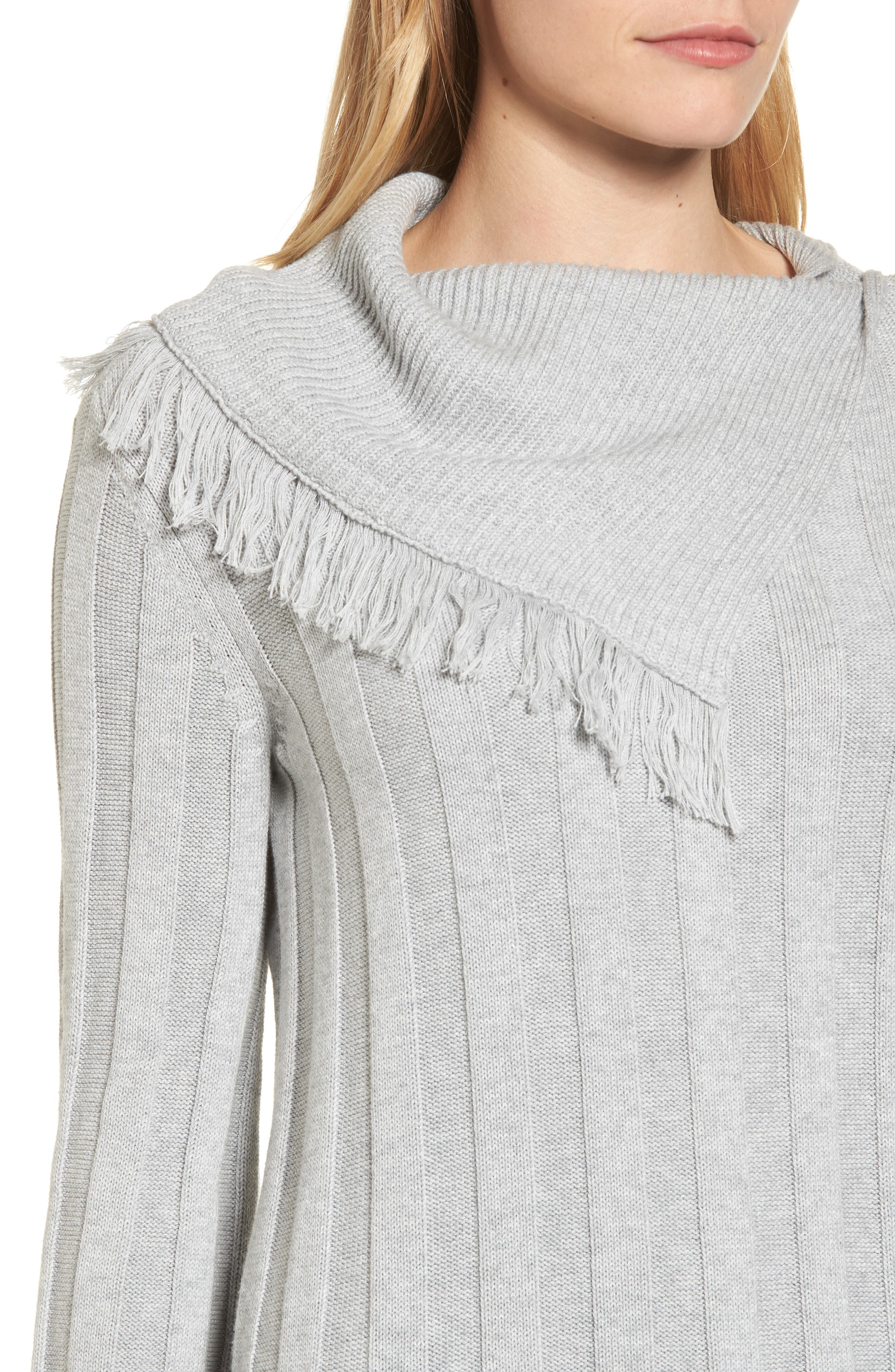 Fringe Cowl Neck Sweater,                             Alternate thumbnail 4, color,                             Grey Heather