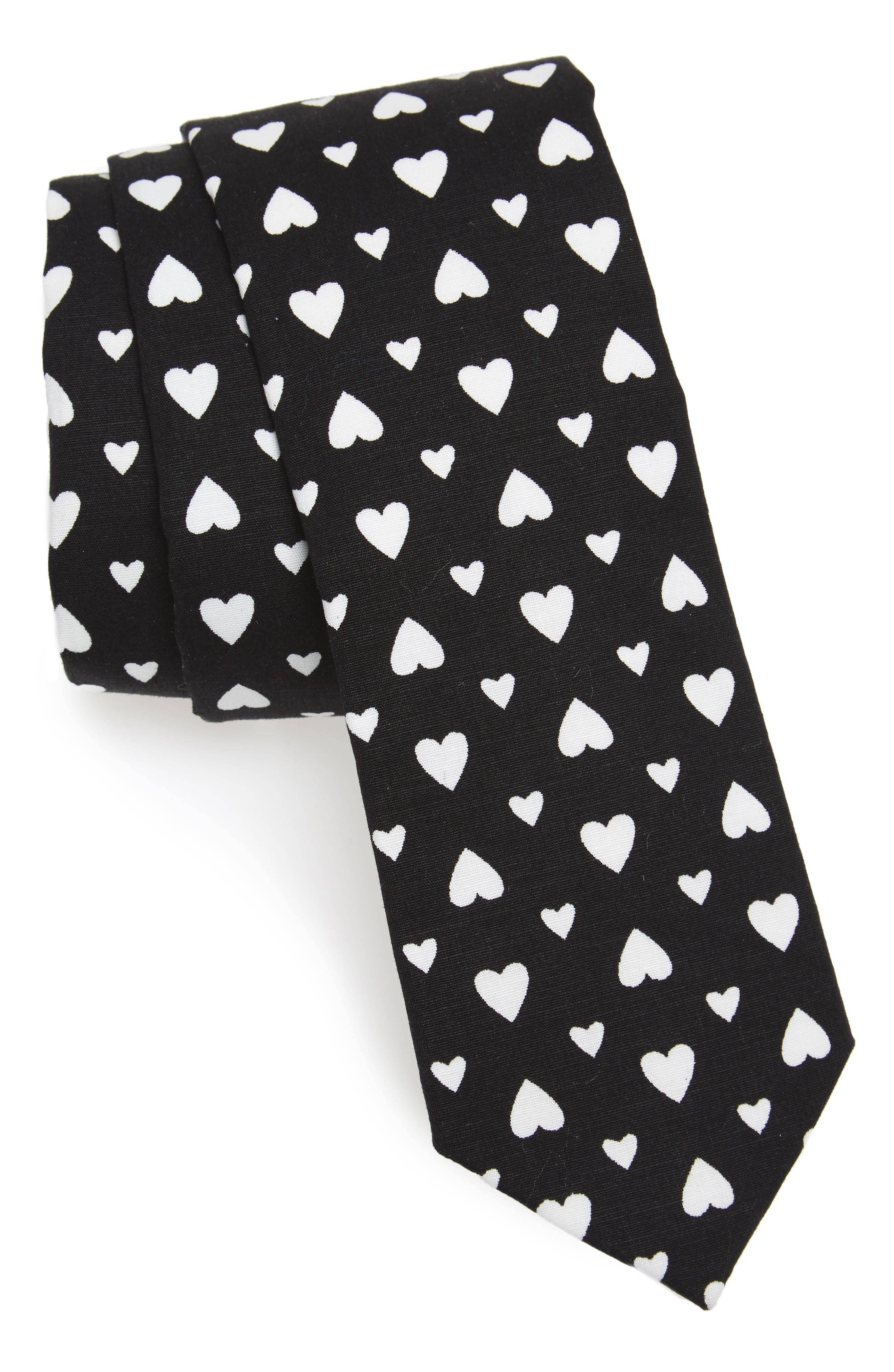 Hearts Print Skinny Tie,                         Main,                         color, Black