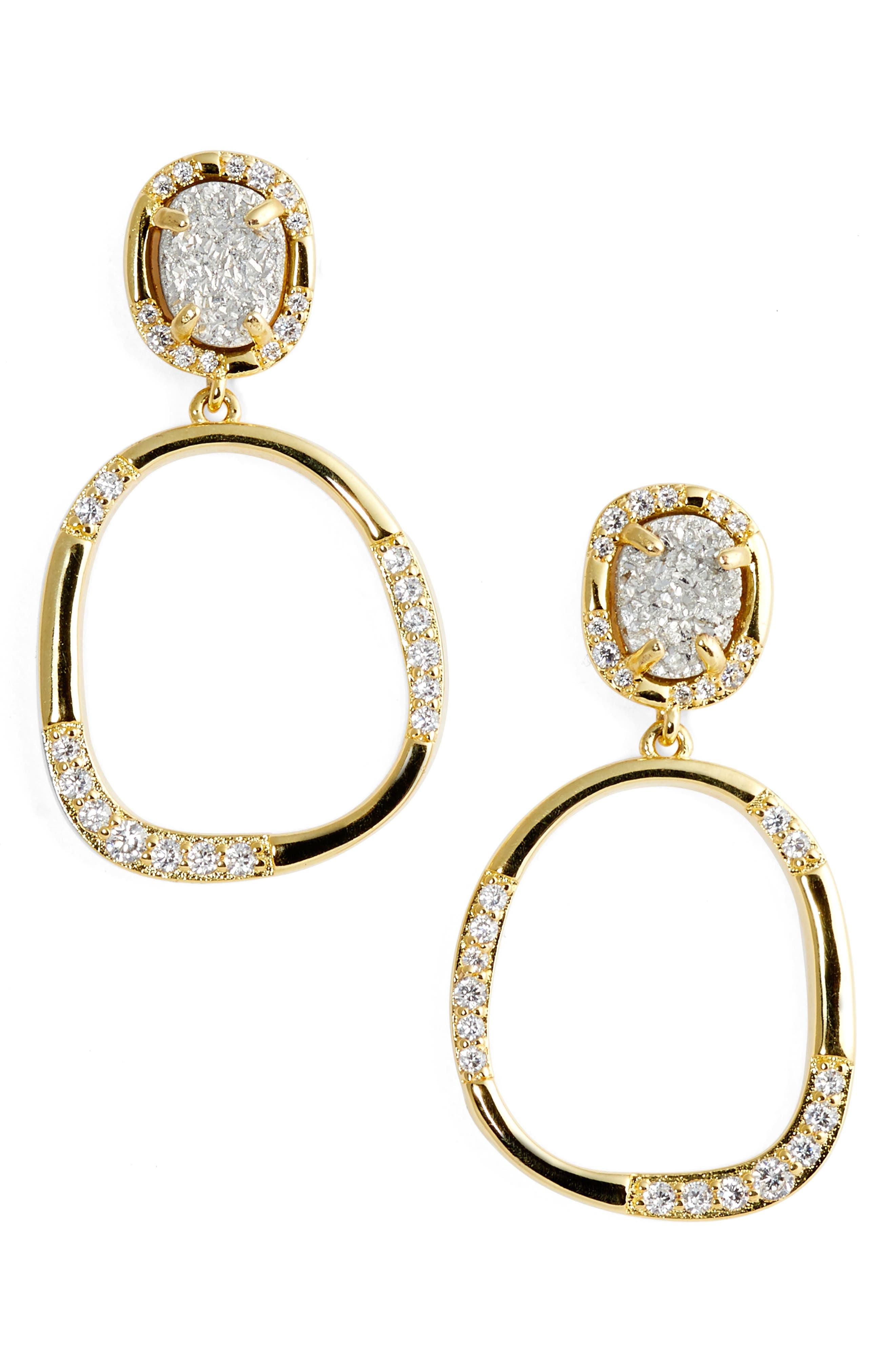 Luna Drop Earrings,                         Main,                         color, Grey Druzy/ Gold