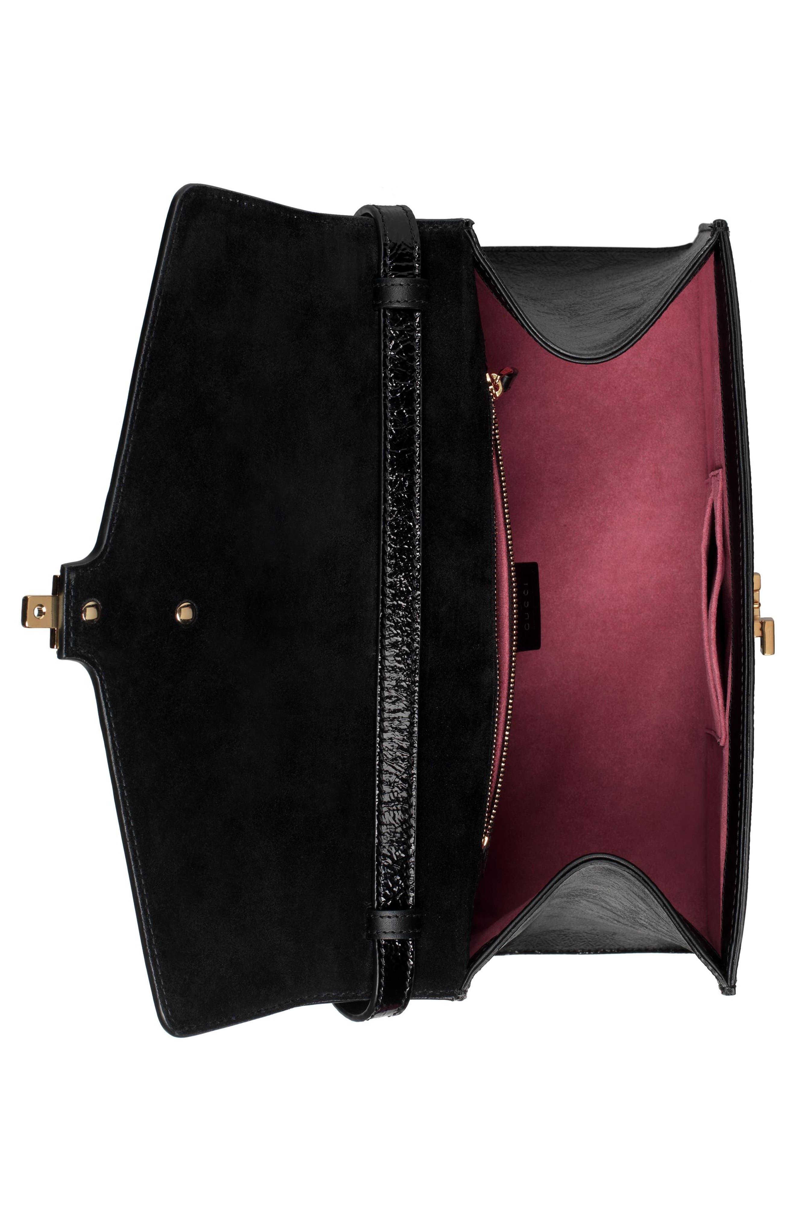Medium Sylvie Floral Embroidered Top Handle Leather Shoulder Bag,                             Alternate thumbnail 3, color,                             Nero Multi