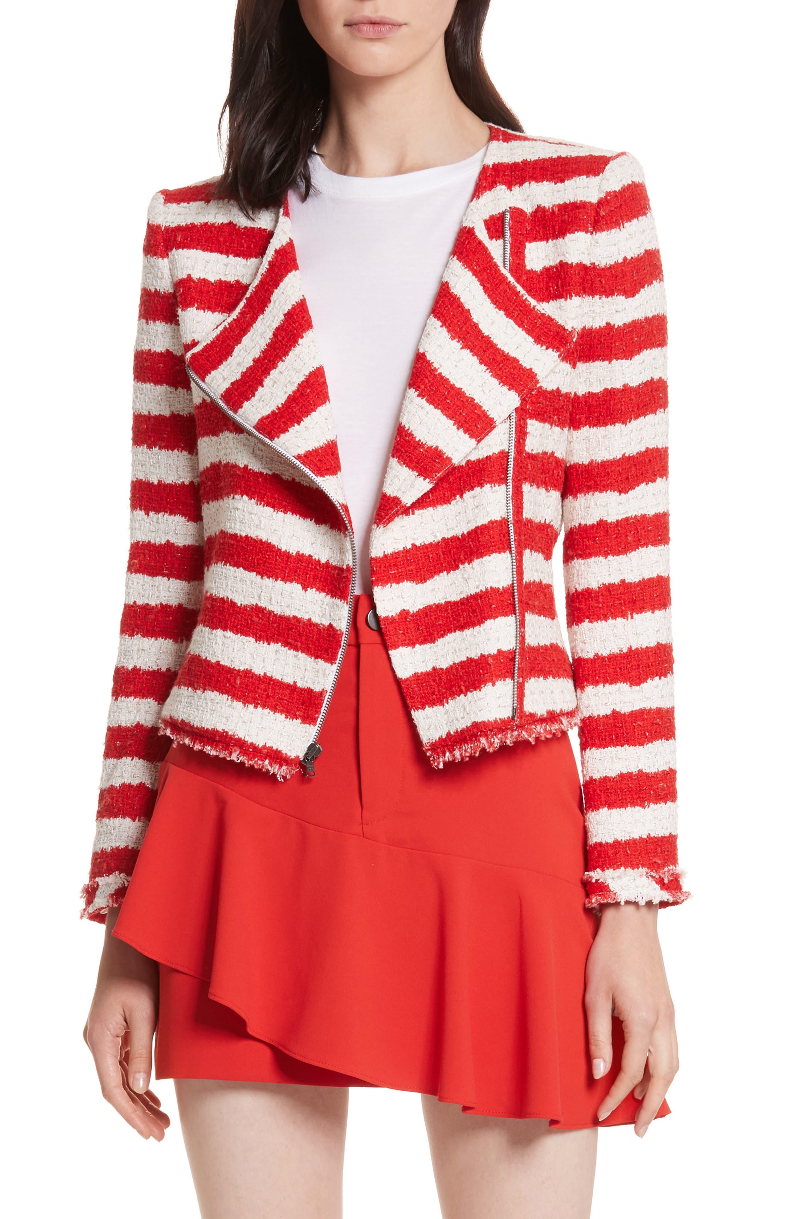 Stanton Stripe Tweed Jacket,                         Main,                         color, Apple/ White