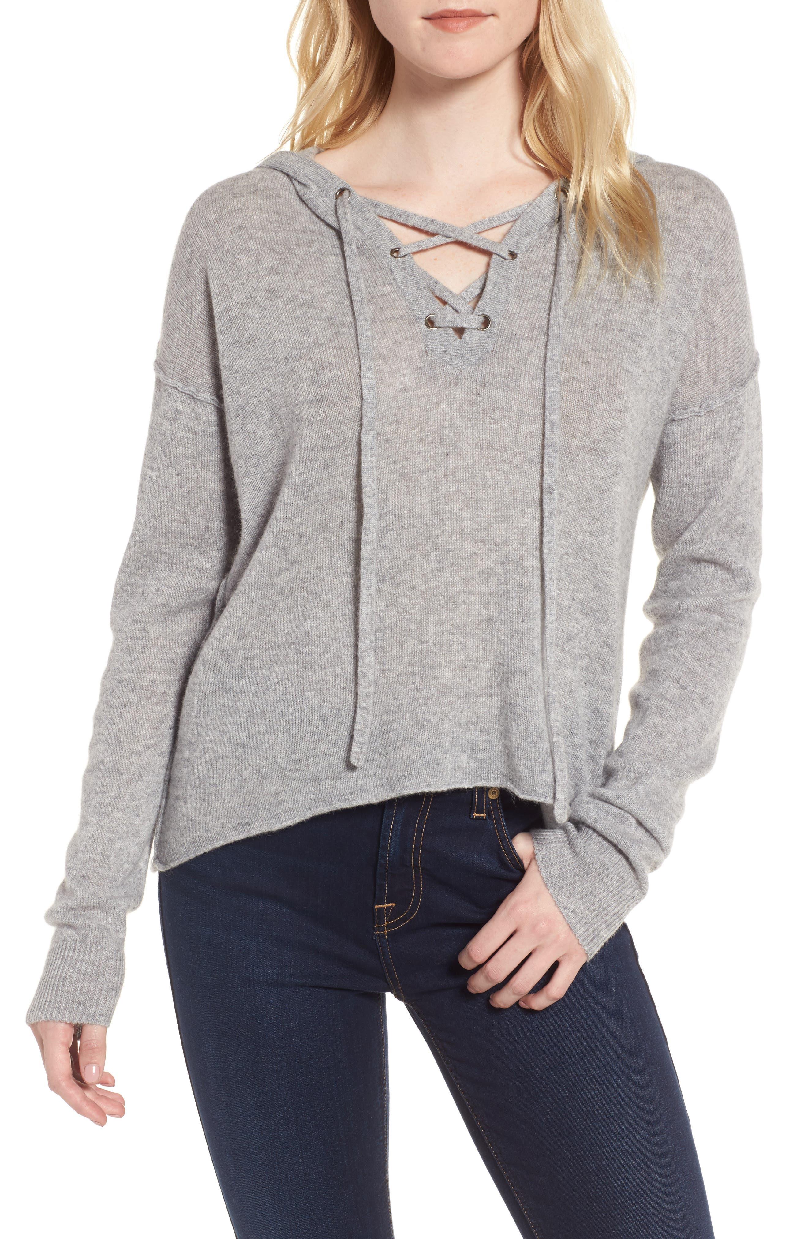 Dakota Cashmere Hooded Sweater,                             Main thumbnail 1, color,                             Heather Grey
