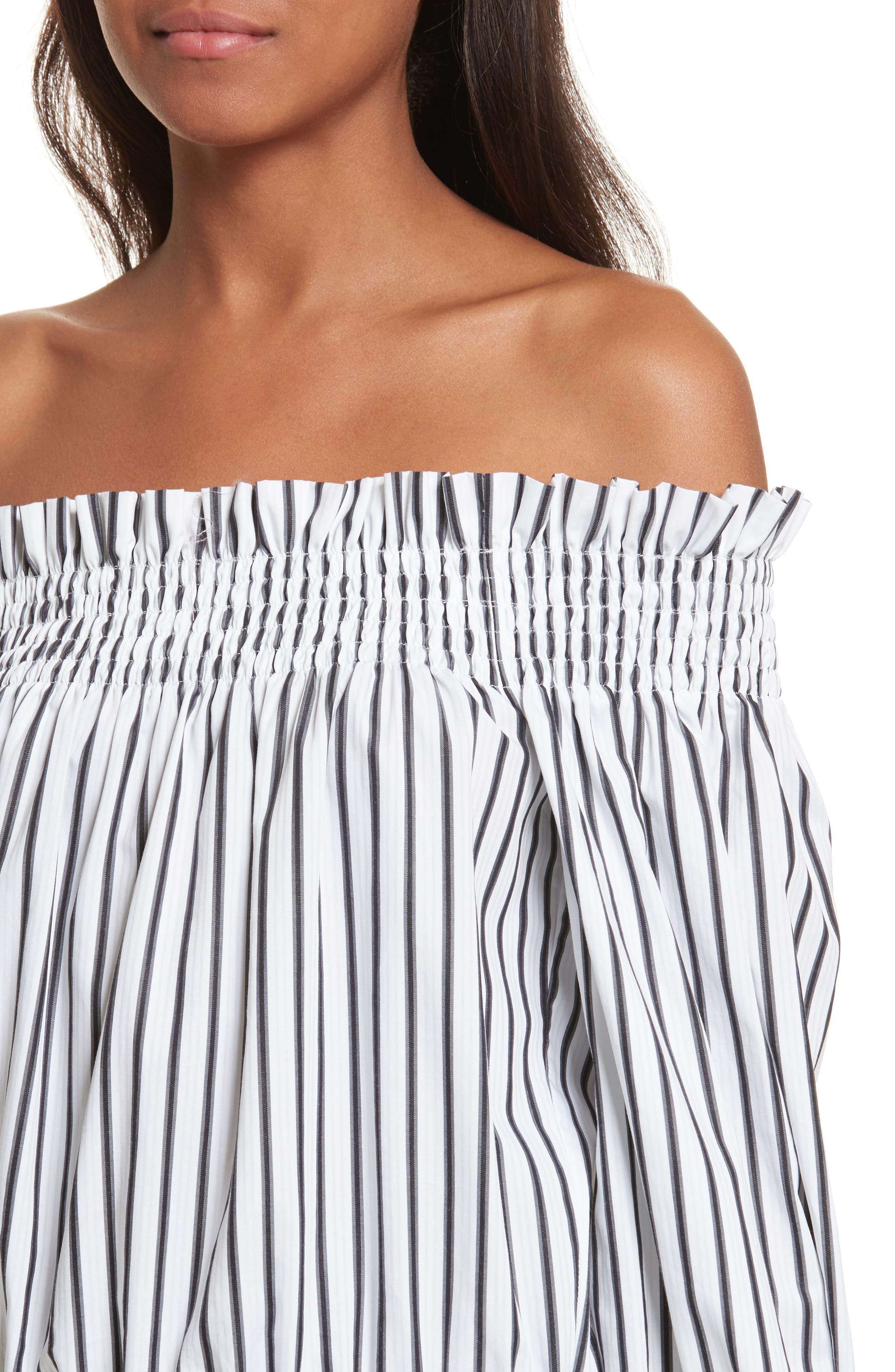 Alternate Image 4  - Caroline Constas Lou Off the Shoulder Crop Top