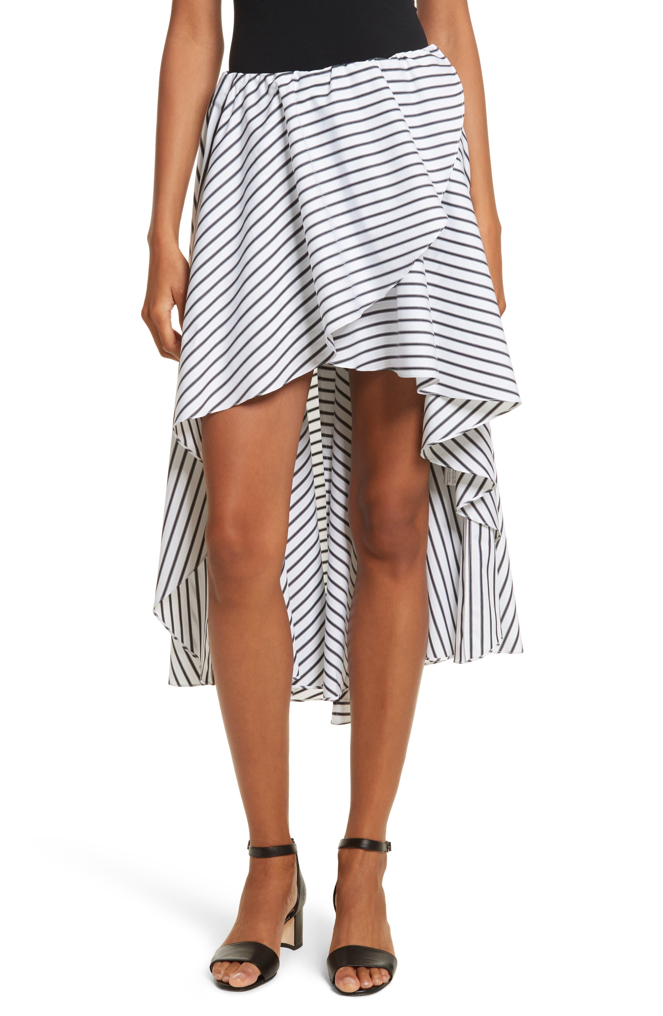 Adelle High/Low Ruffle Skirt,                         Main,                         color, White/ Black