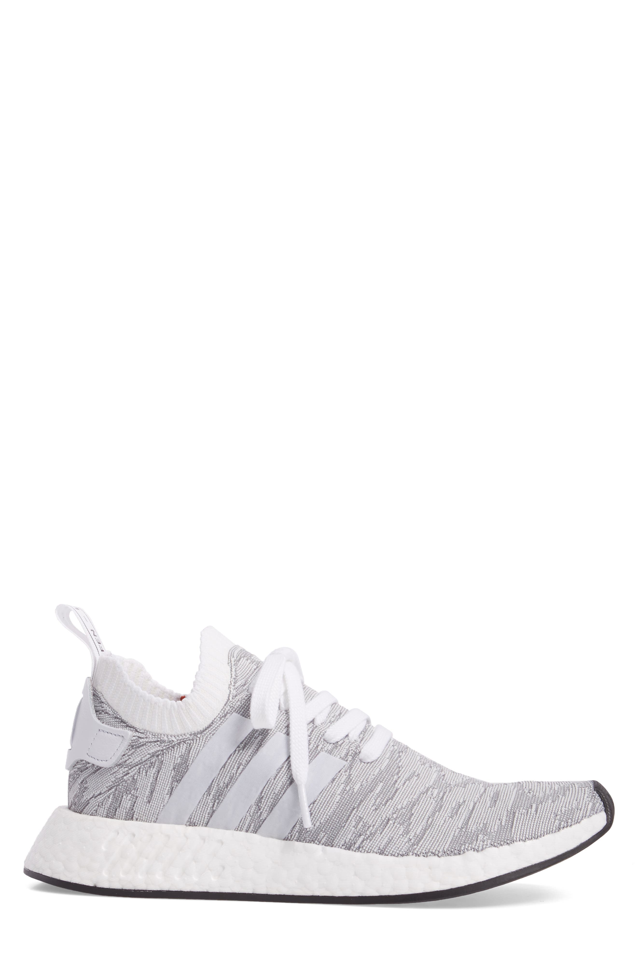 NMD R2 Primeknit Running Shoe,                             Alternate thumbnail 3, color,                             White/ White/ Core Black