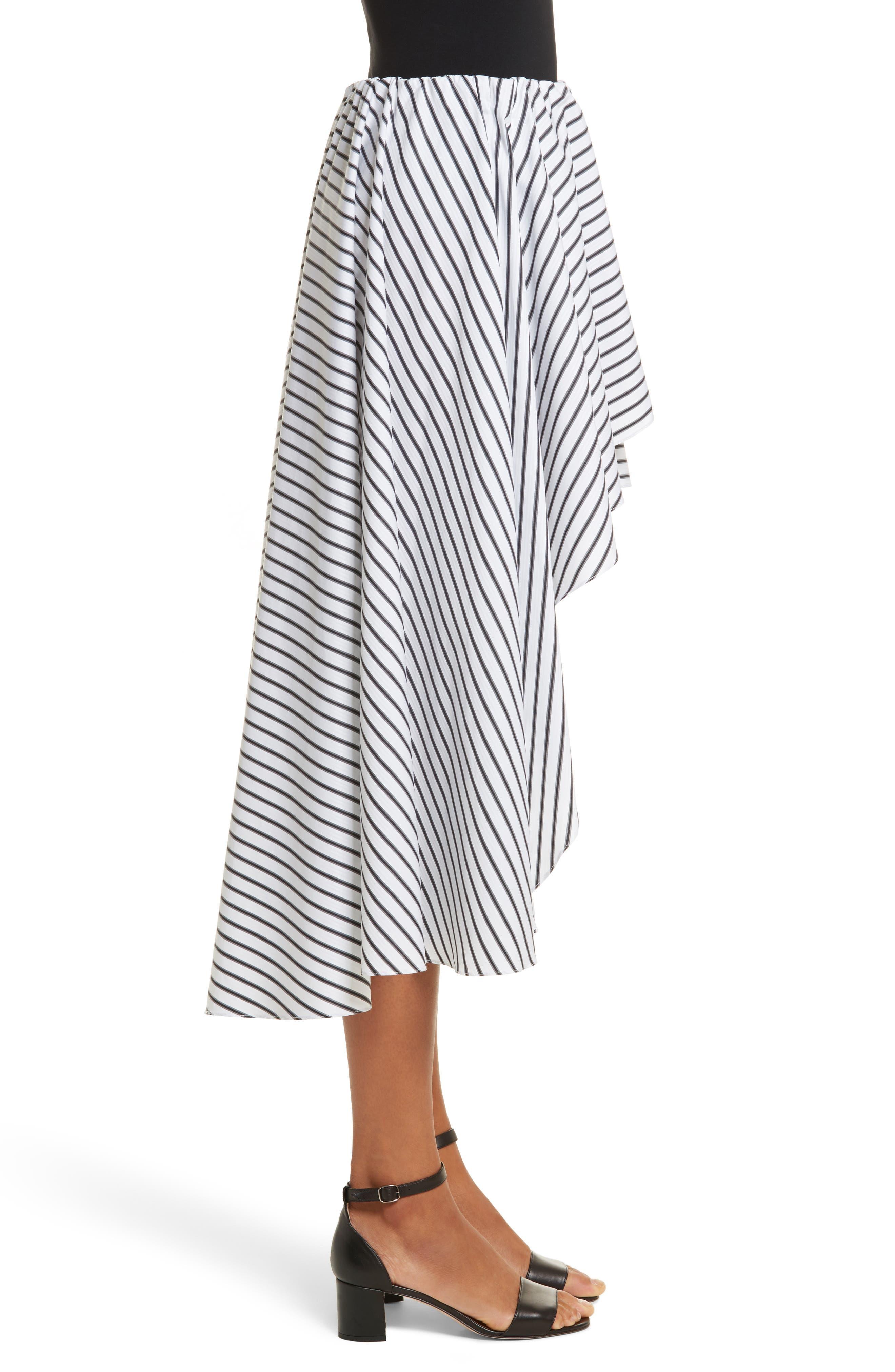 Adelle High/Low Ruffle Skirt,                             Alternate thumbnail 4, color,                             White/ Black