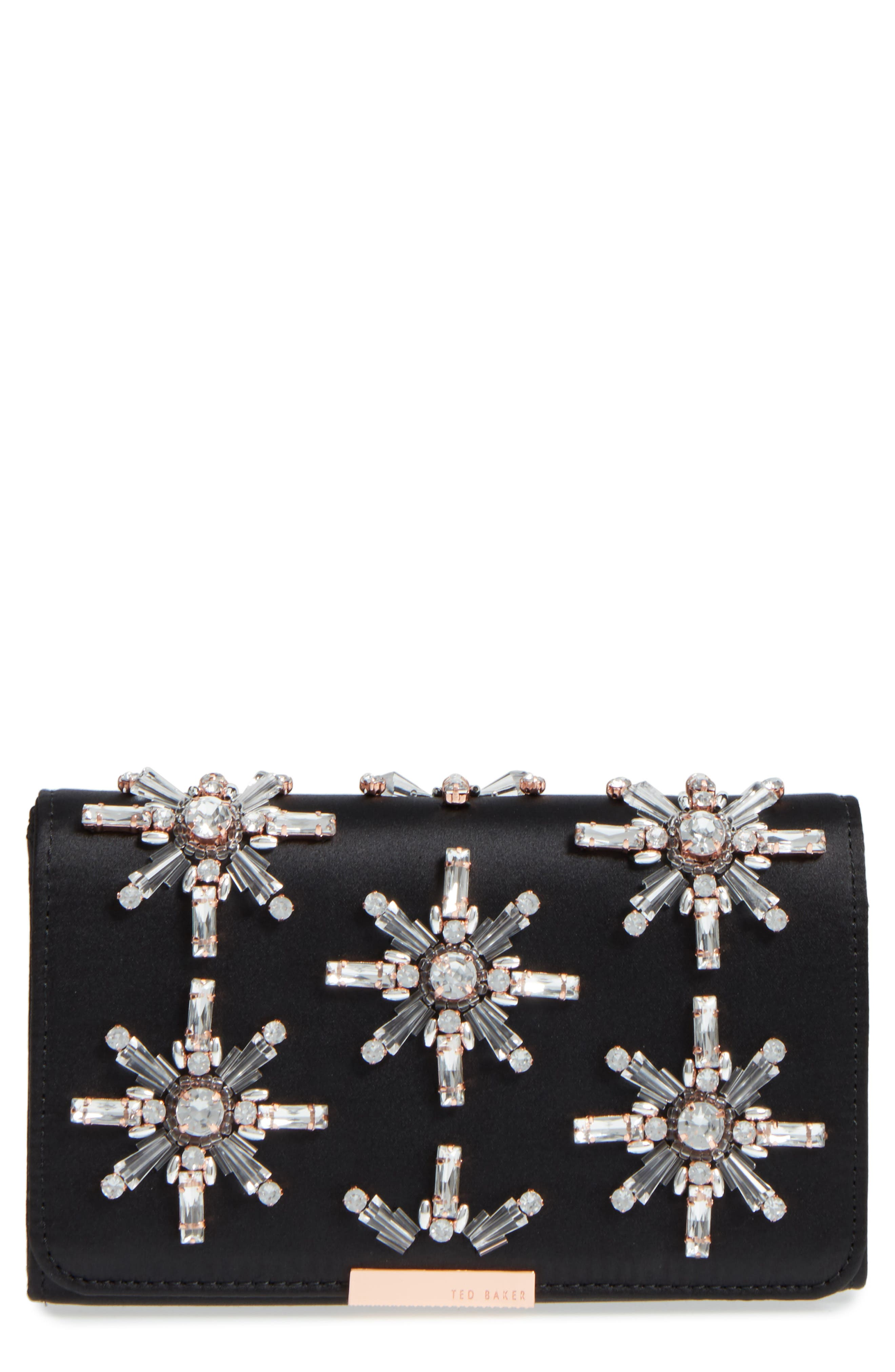 Daveena Crystal Embellished Satin Clutch,                             Main thumbnail 1, color,                             Black