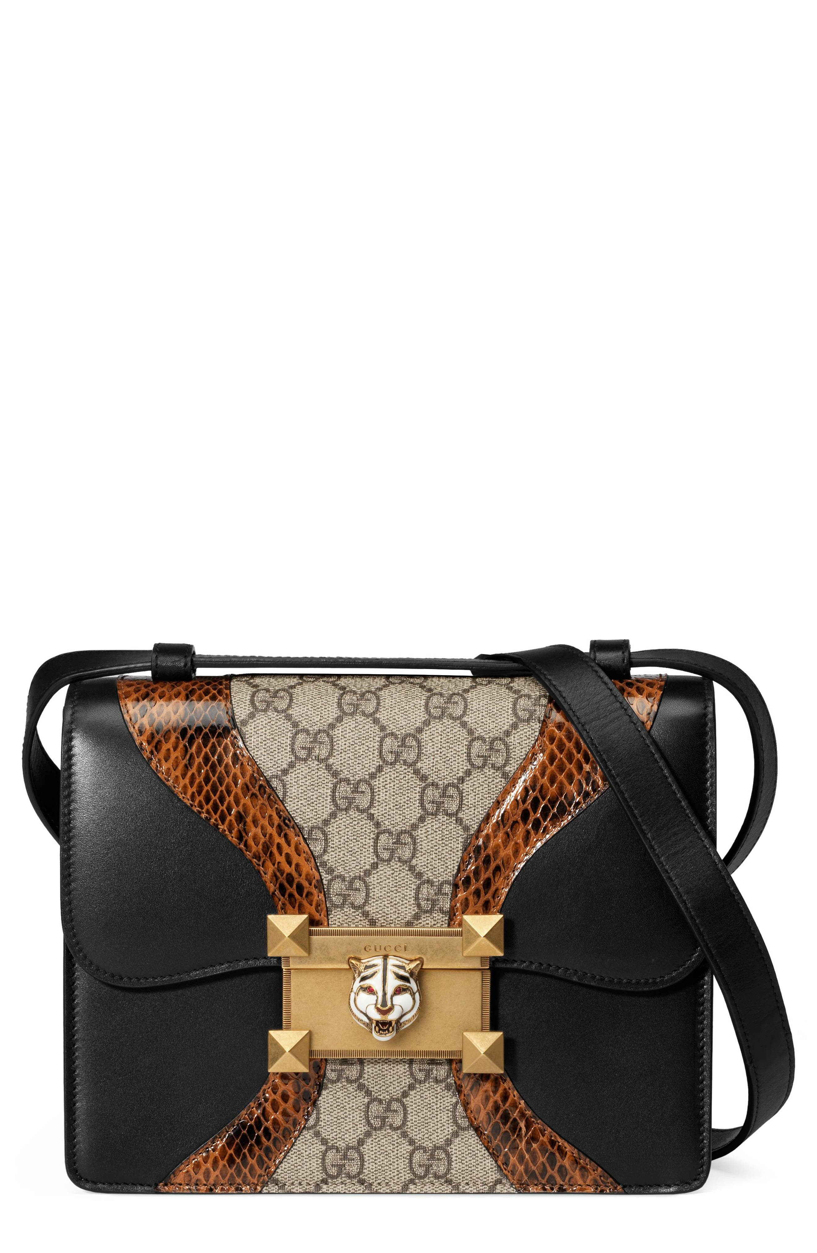 Osiride Genuine Snakeskin & GG Supreme Shoulder Bag,                             Main thumbnail 1, color,                             Nero/ Cuir/ Beige Ebony/ Ruby