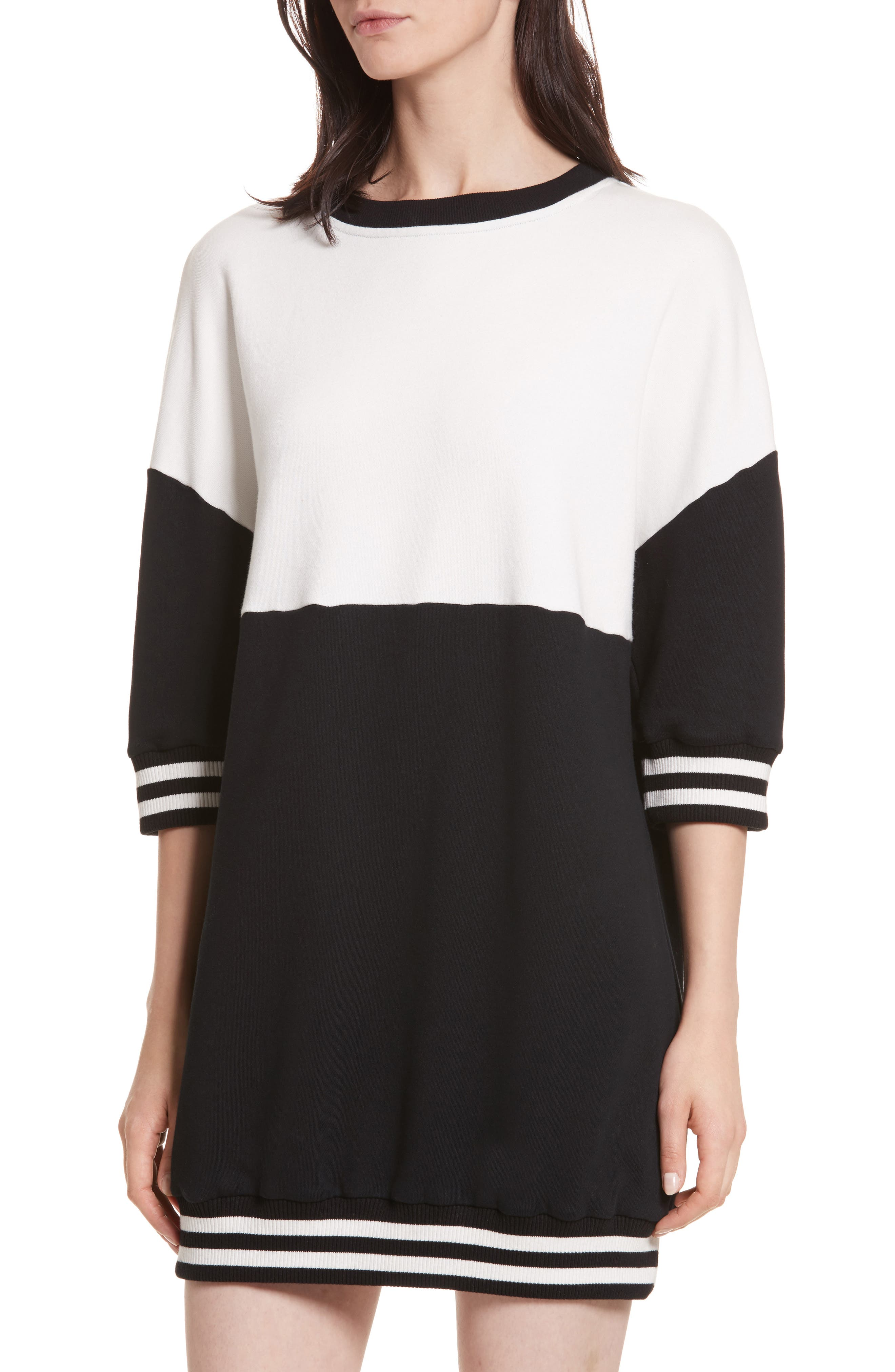 Gussie Colorblock Sweatshirt Dress,                             Alternate thumbnail 4, color,                             Black/ Off White