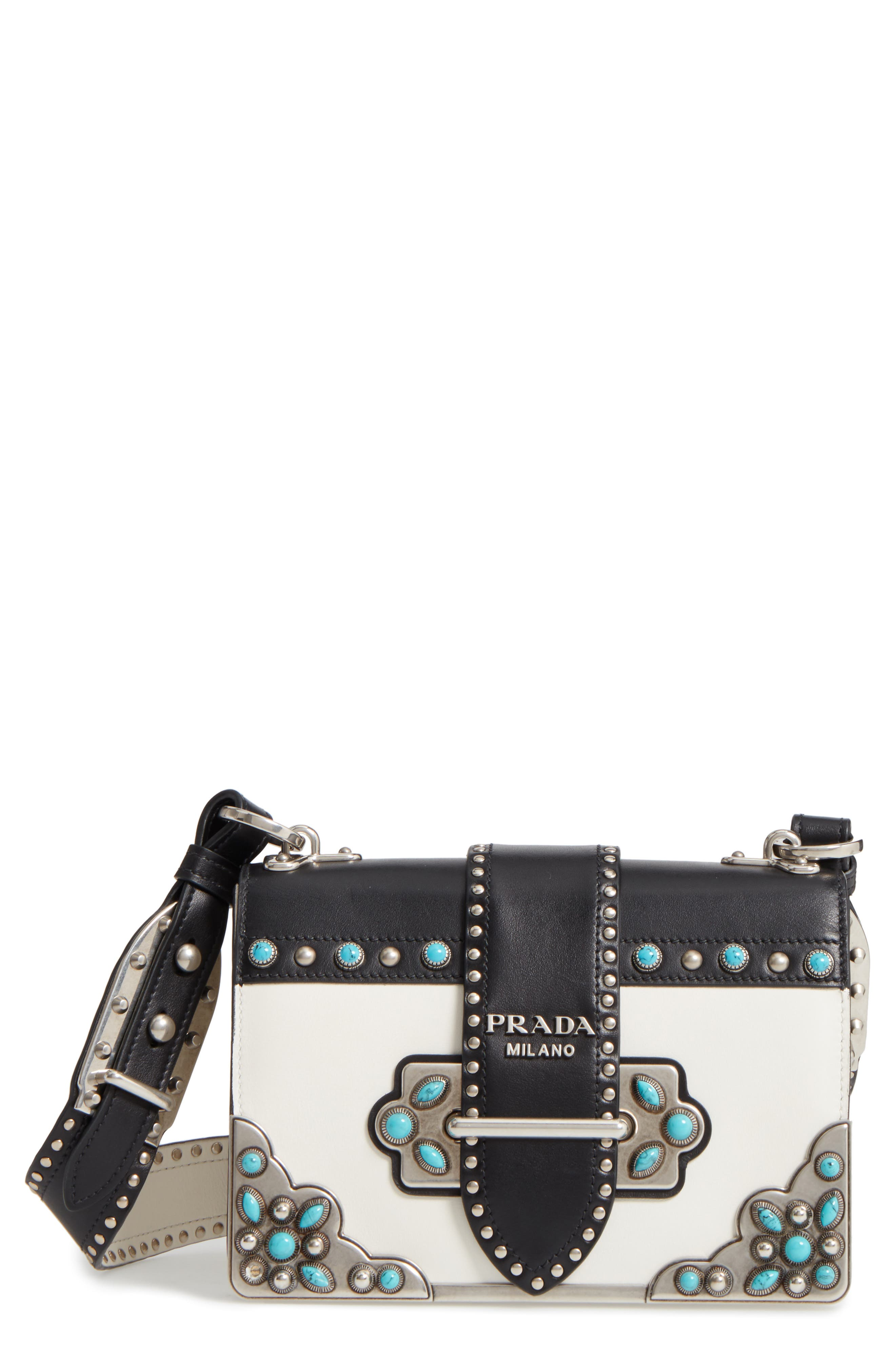 Cahier City Calfskin Shoulder Bag,                         Main,                         color, Bianco/ Nero