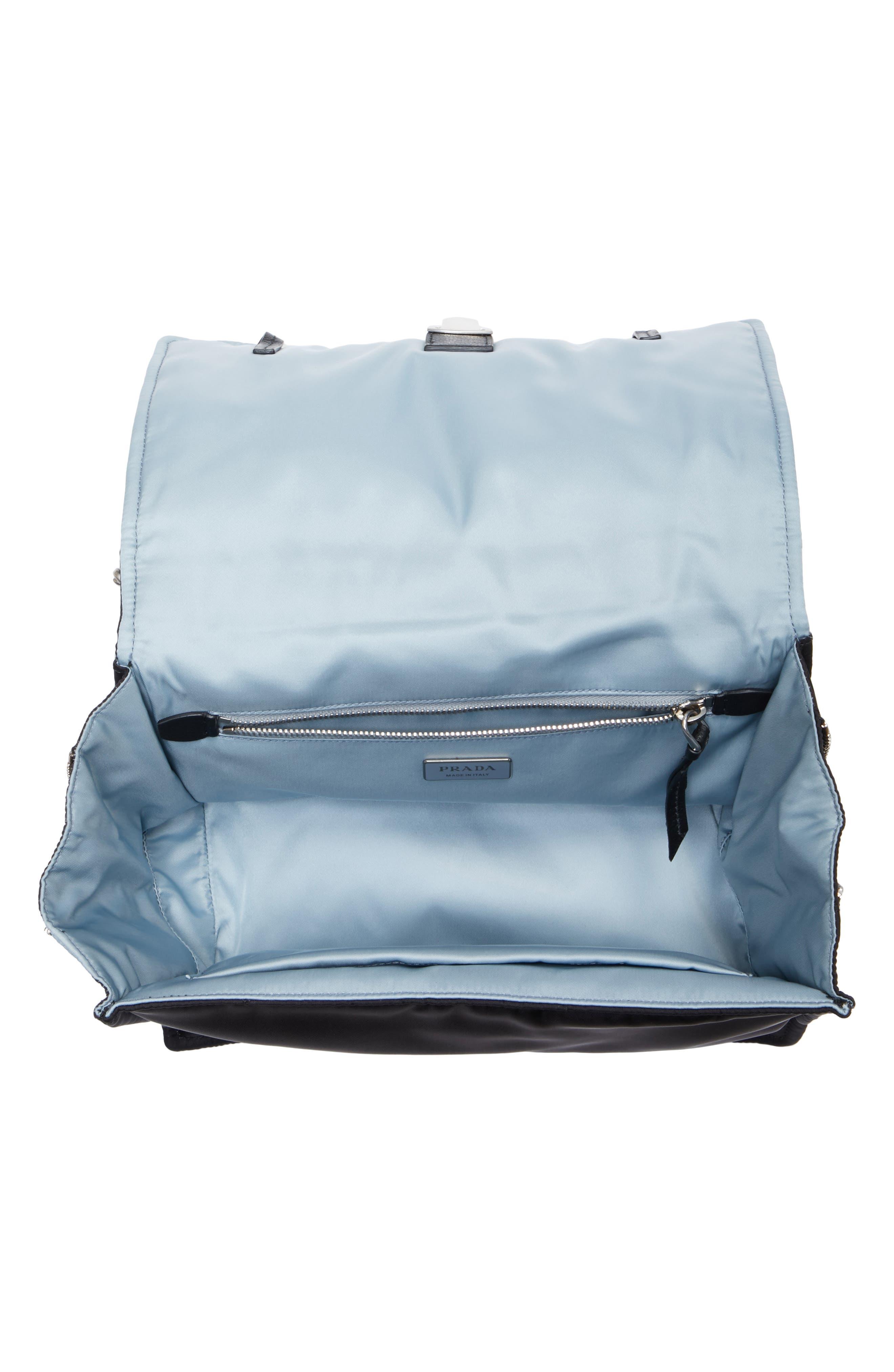 Medium Etiquette Tessuto Bag,                             Alternate thumbnail 4, color,                             Nero/ Astrale