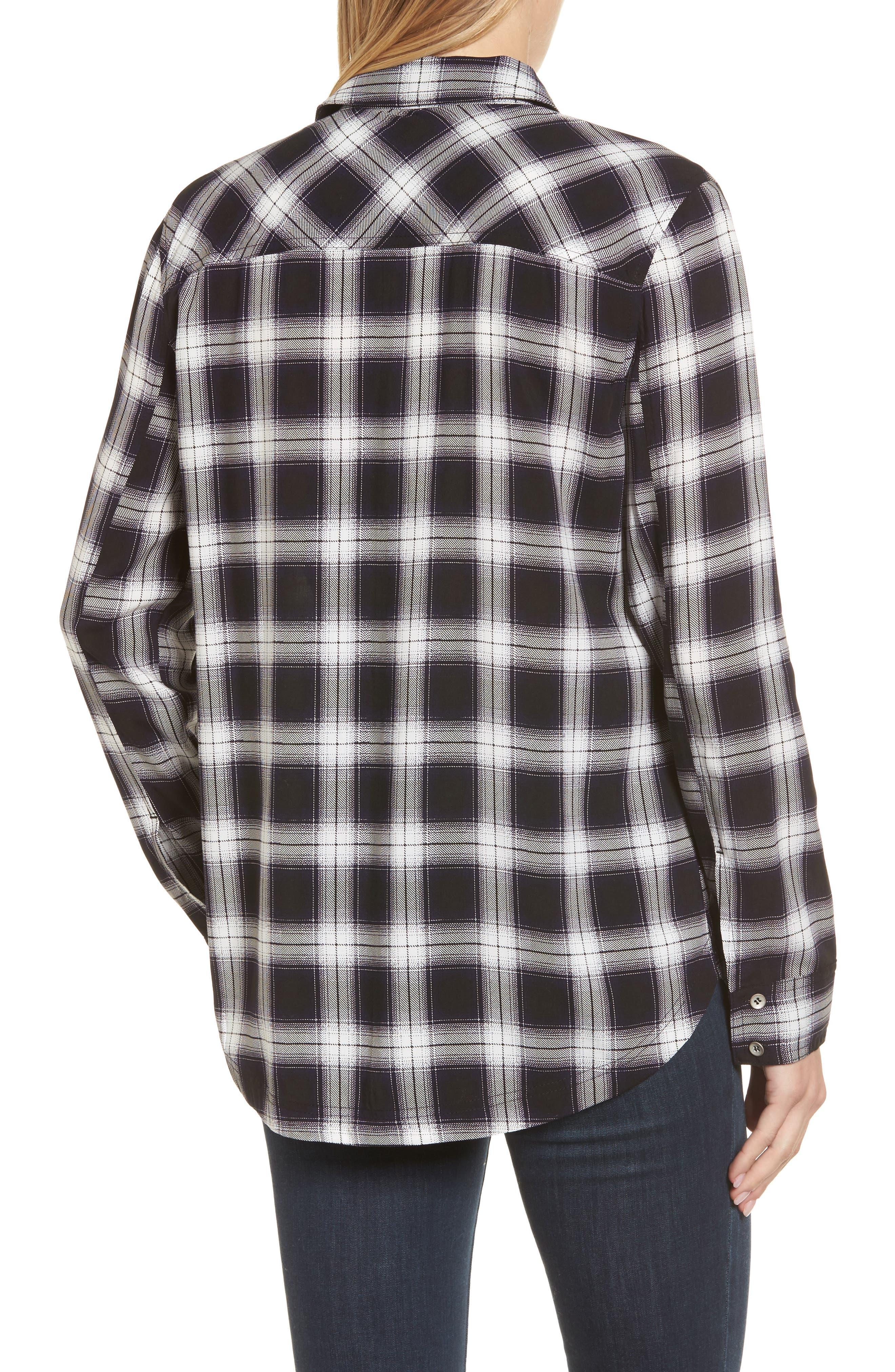 Plaid Shirt,                             Alternate thumbnail 2, color,                             Black- White Plaid