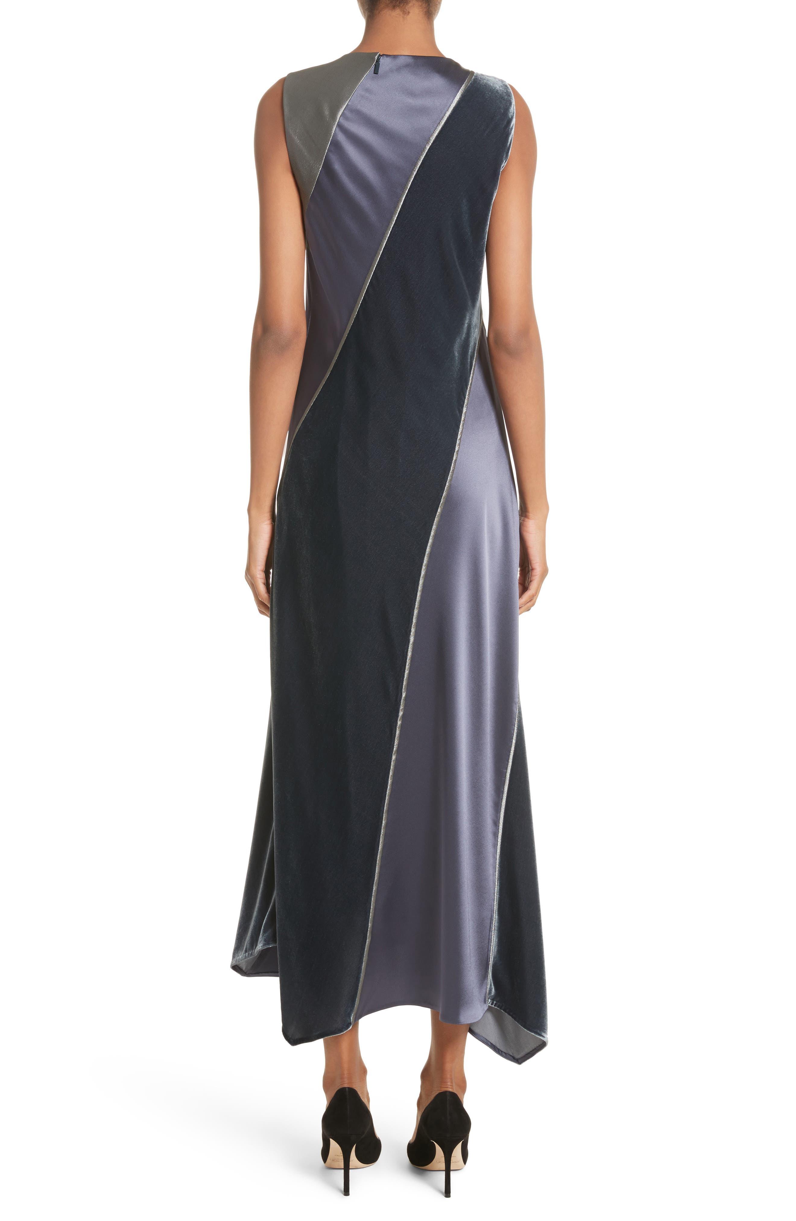 Madelia Velvet & Satin Midi Dress,                             Alternate thumbnail 2, color,                             Admiral Blue