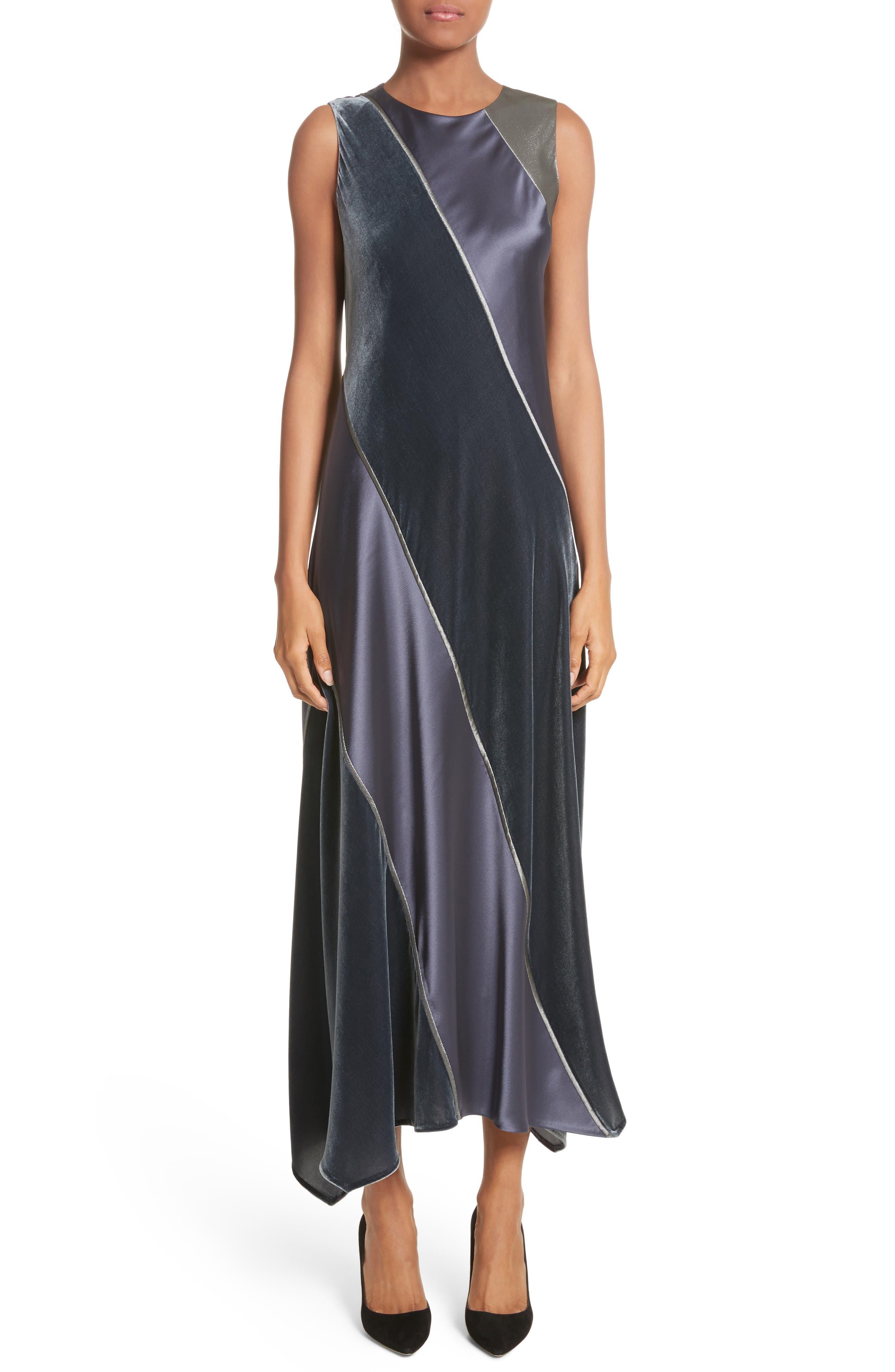 Madelia Velvet & Satin Midi Dress,                         Main,                         color, Admiral Blue