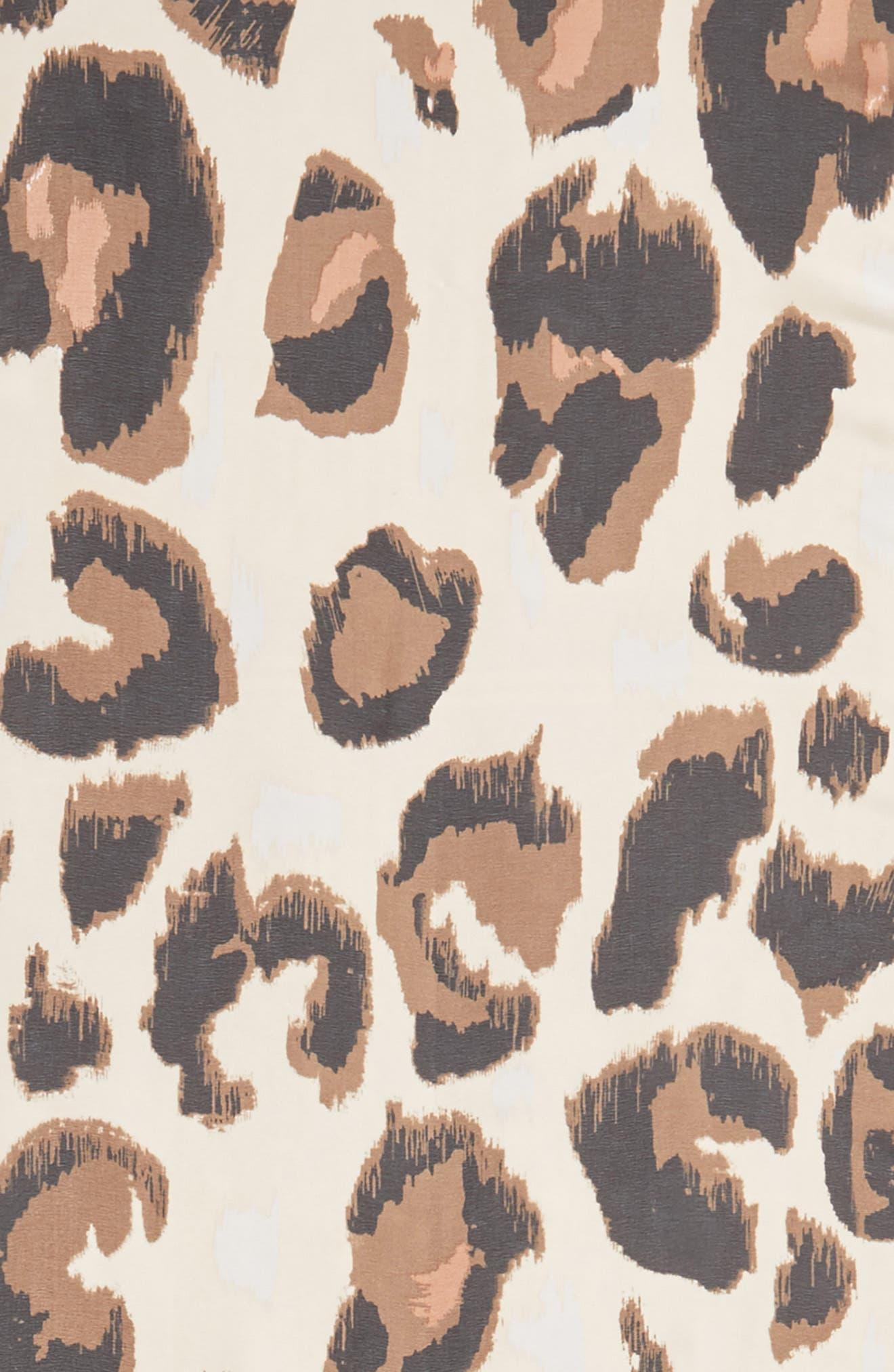 Leopard Print Scarf,                             Alternate thumbnail 4, color,                             Chili