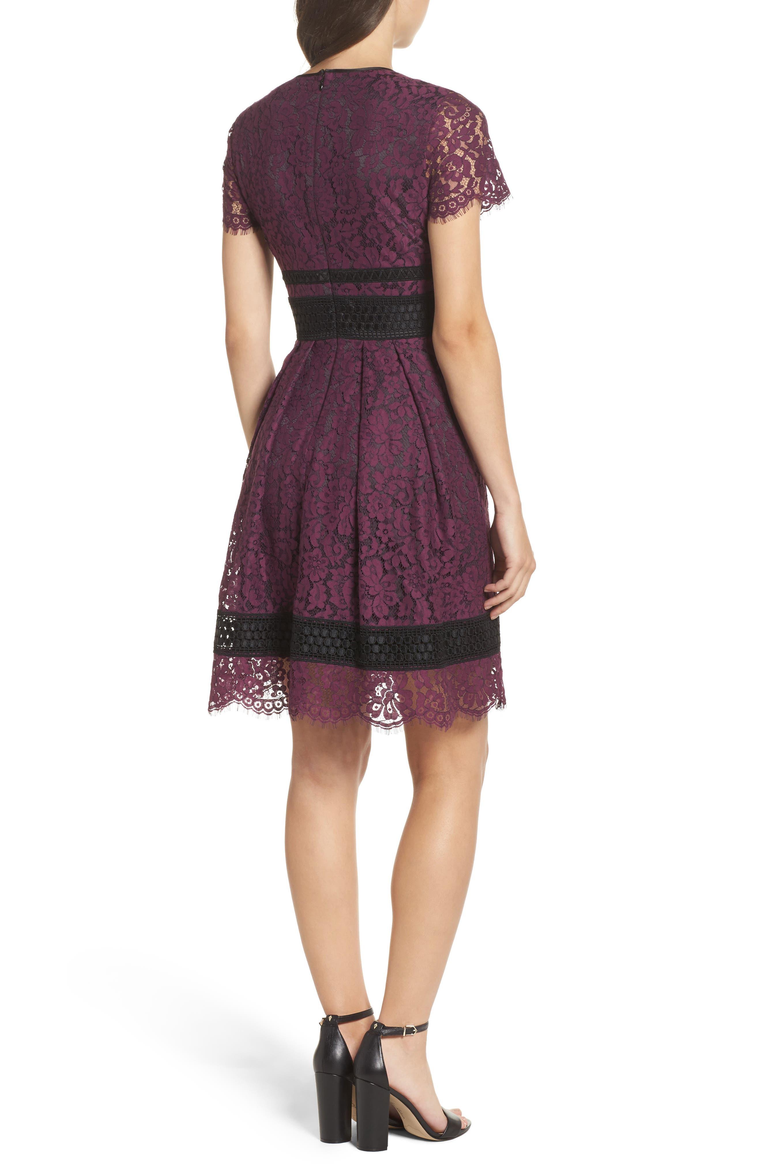 Lace Fit & Flare Dress,                             Alternate thumbnail 2, color,                             Raisin