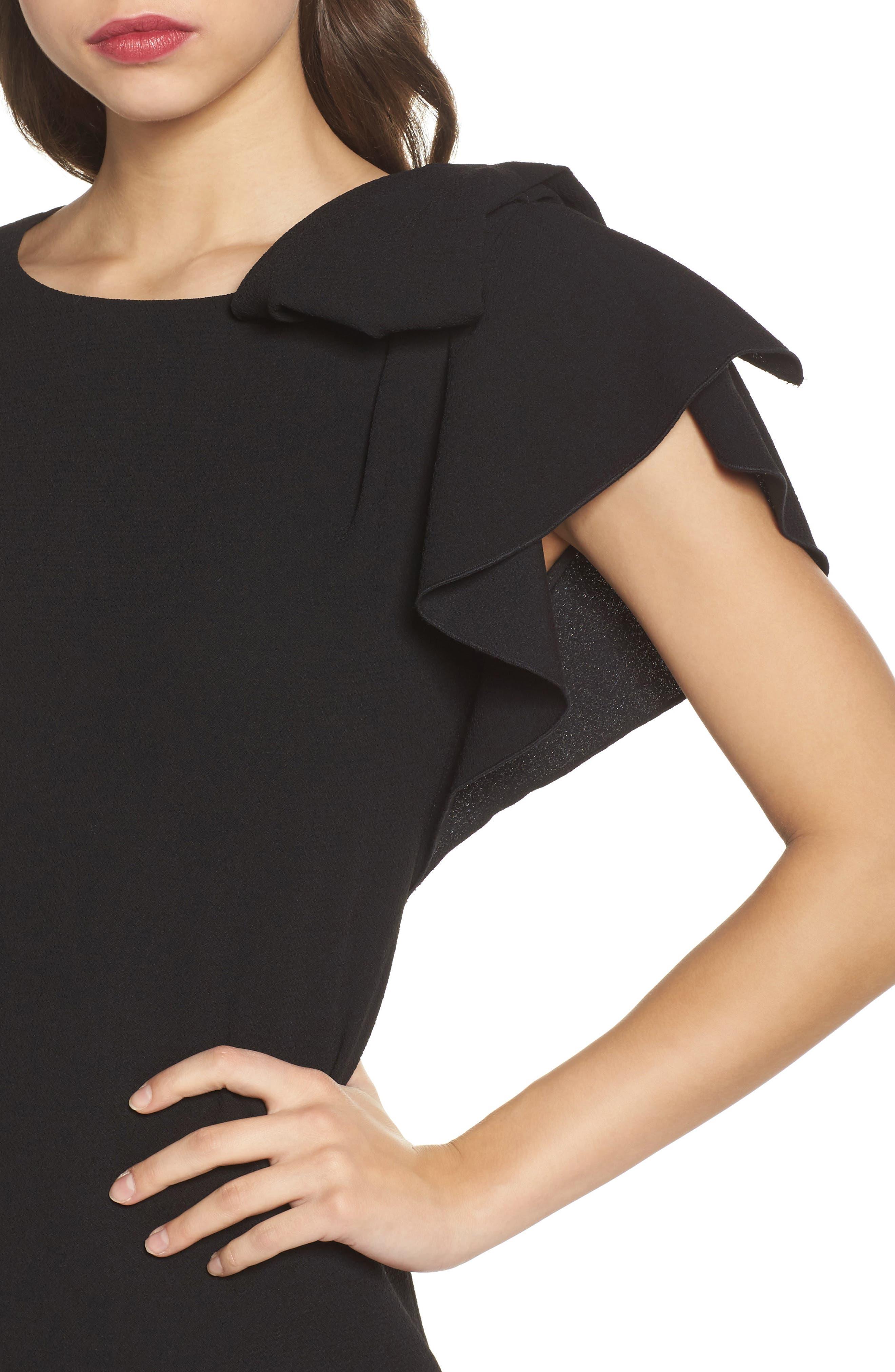 Ruffle Sleeve Shift Dress,                             Alternate thumbnail 4, color,                             Black