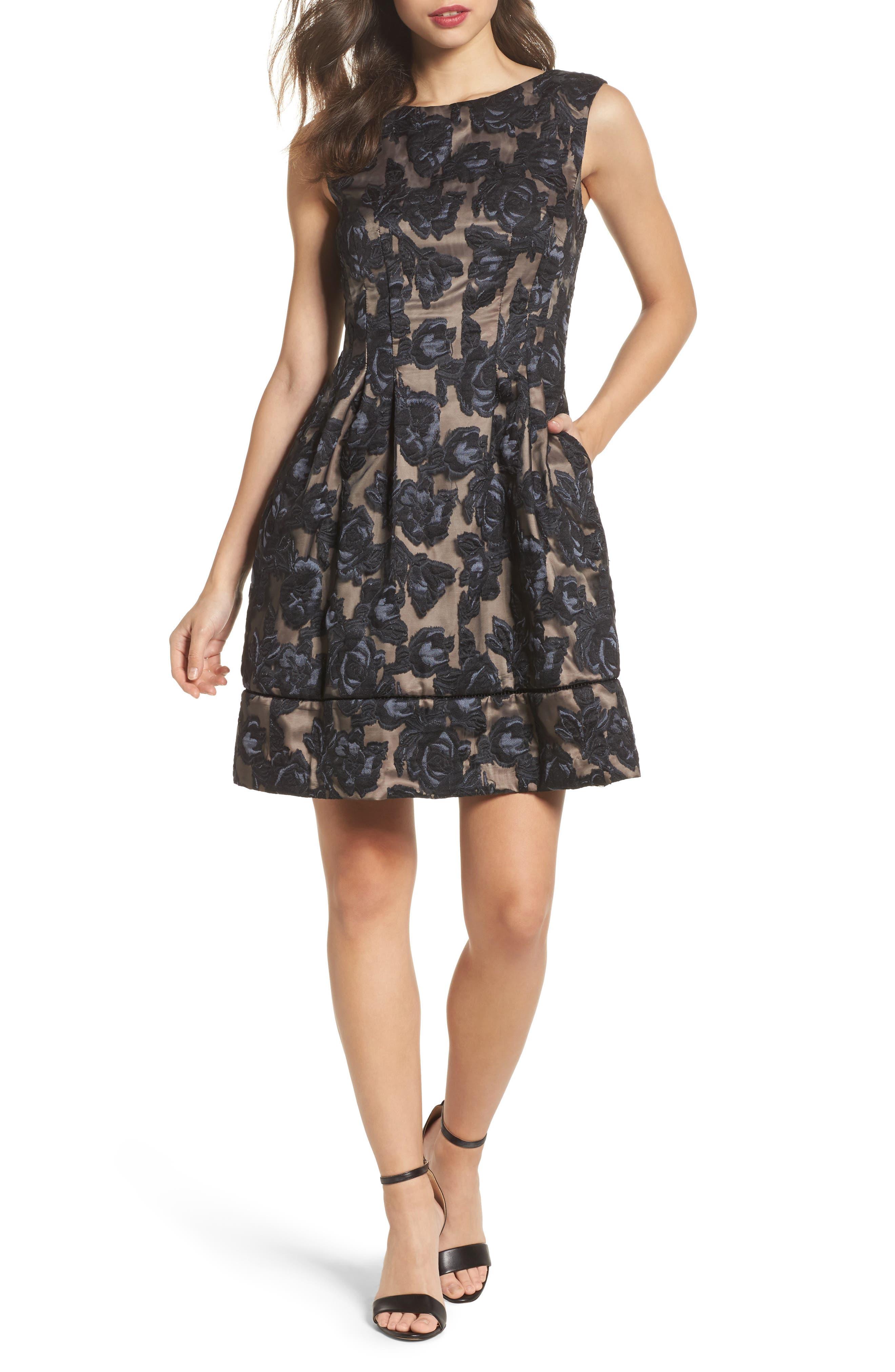 Burnout Fit & Flare Dress,                         Main,                         color, Black