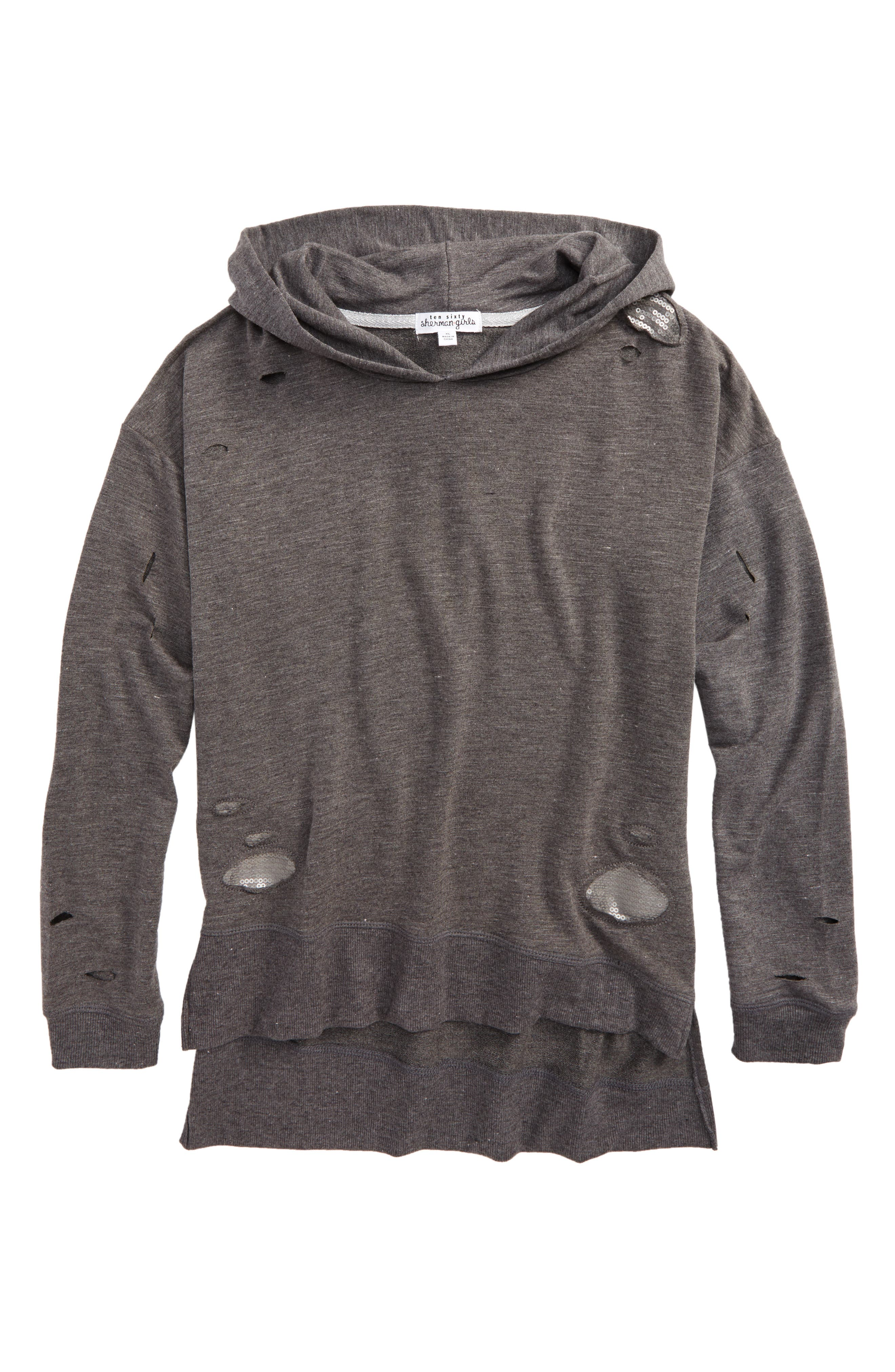 Sequin Patch Deconstructed Hoodie,                         Main,                         color, Heather Charcoal