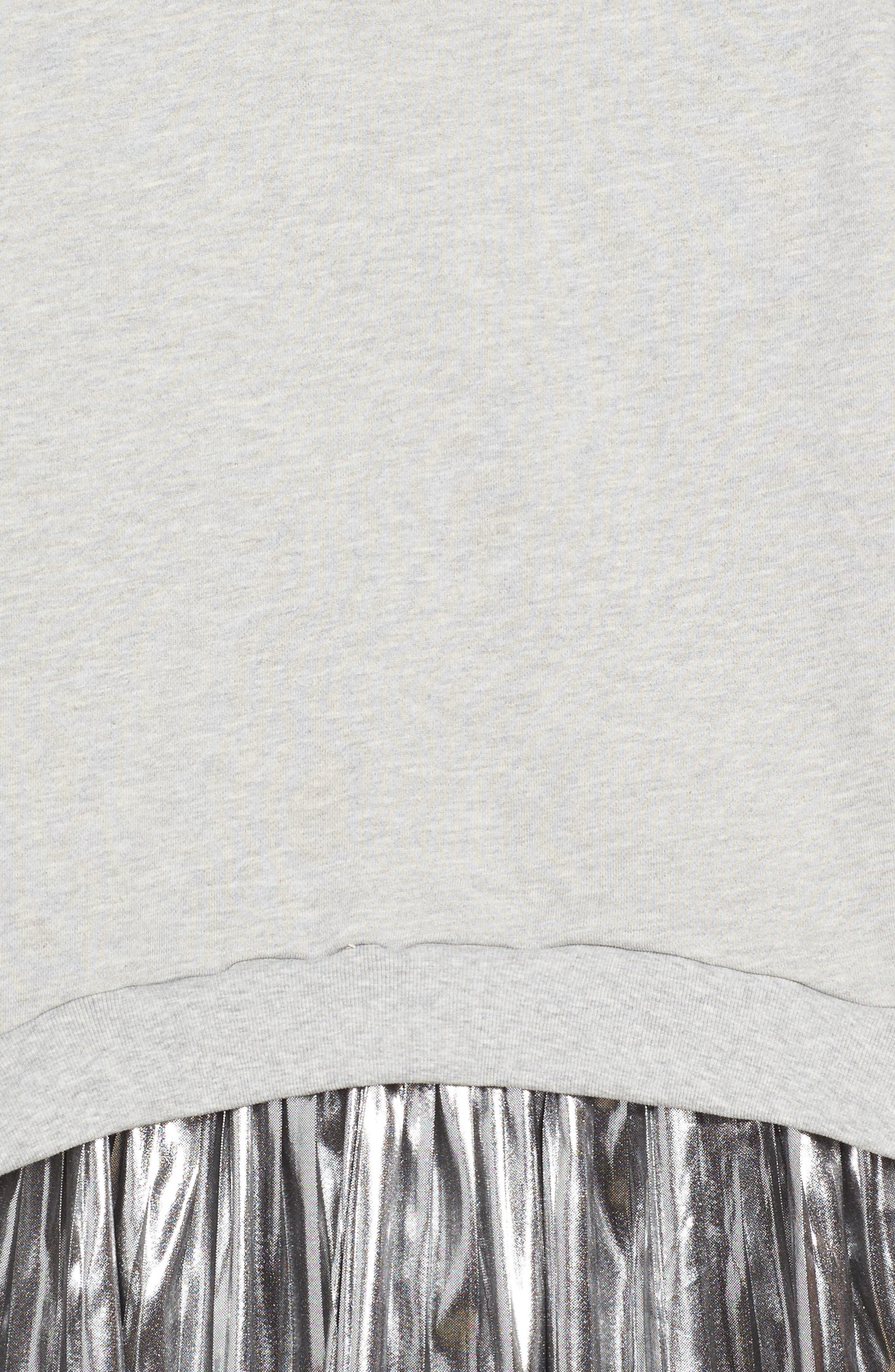 Metallic Sweatshirt Dress,                             Alternate thumbnail 3, color,                             Grey