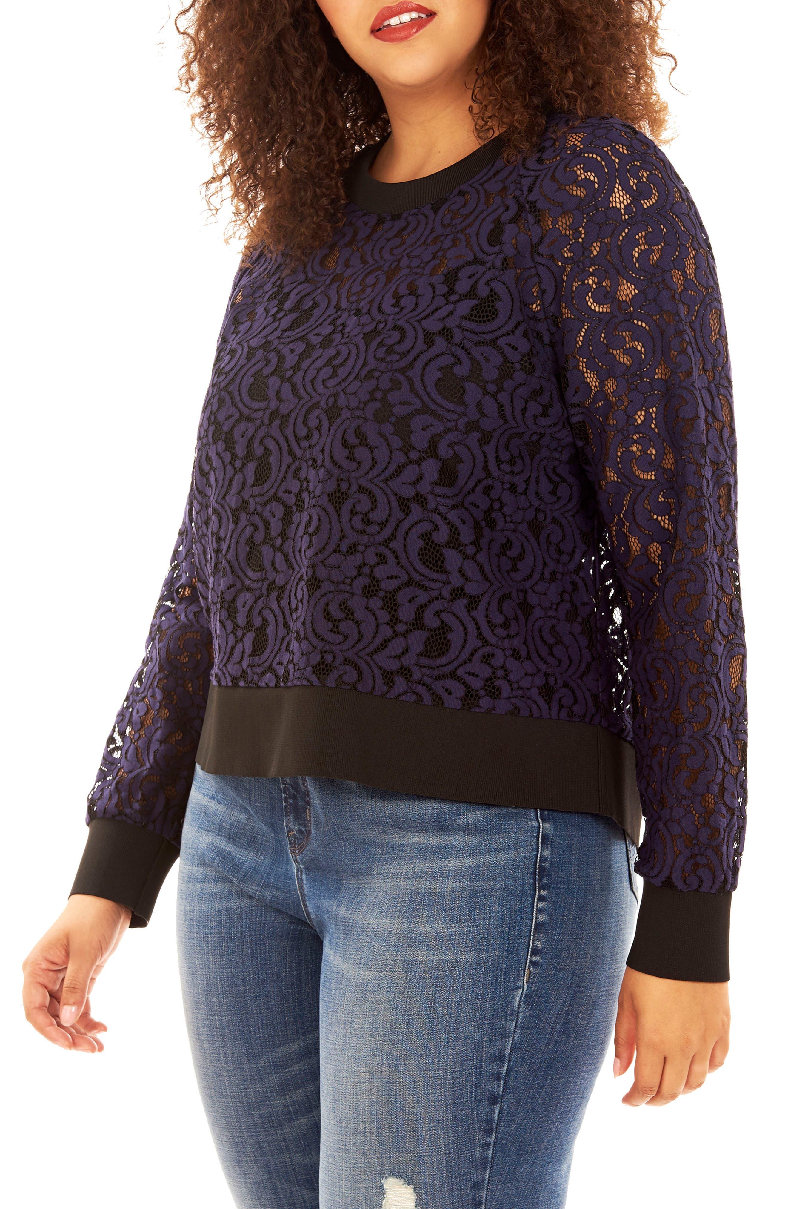 REBEL WILSON X ANGELS Lace Sweatshirt (Plus Size)
