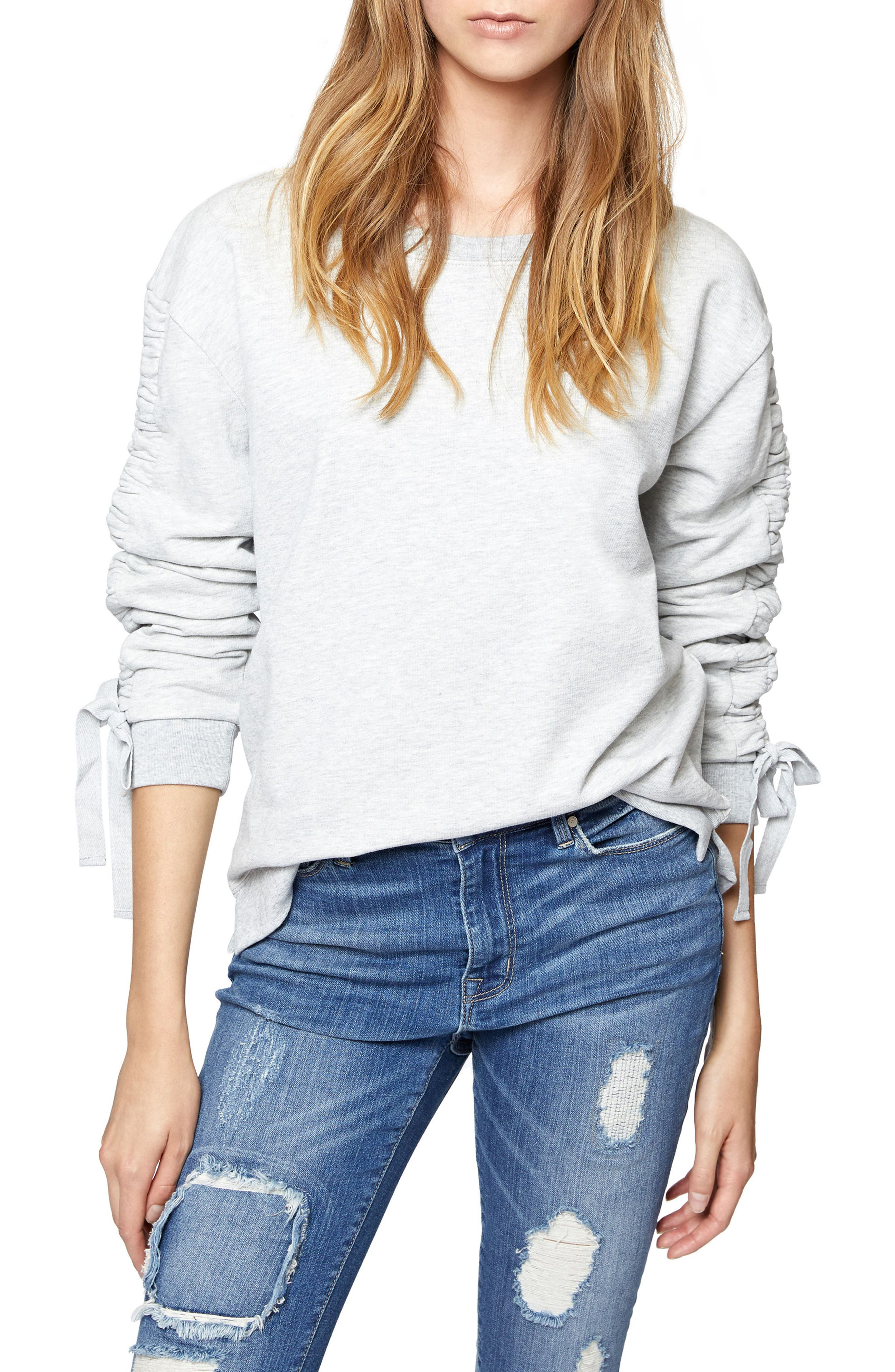 Camden Ruched Sweatshirt,                         Main,                         color, Heather Sterling