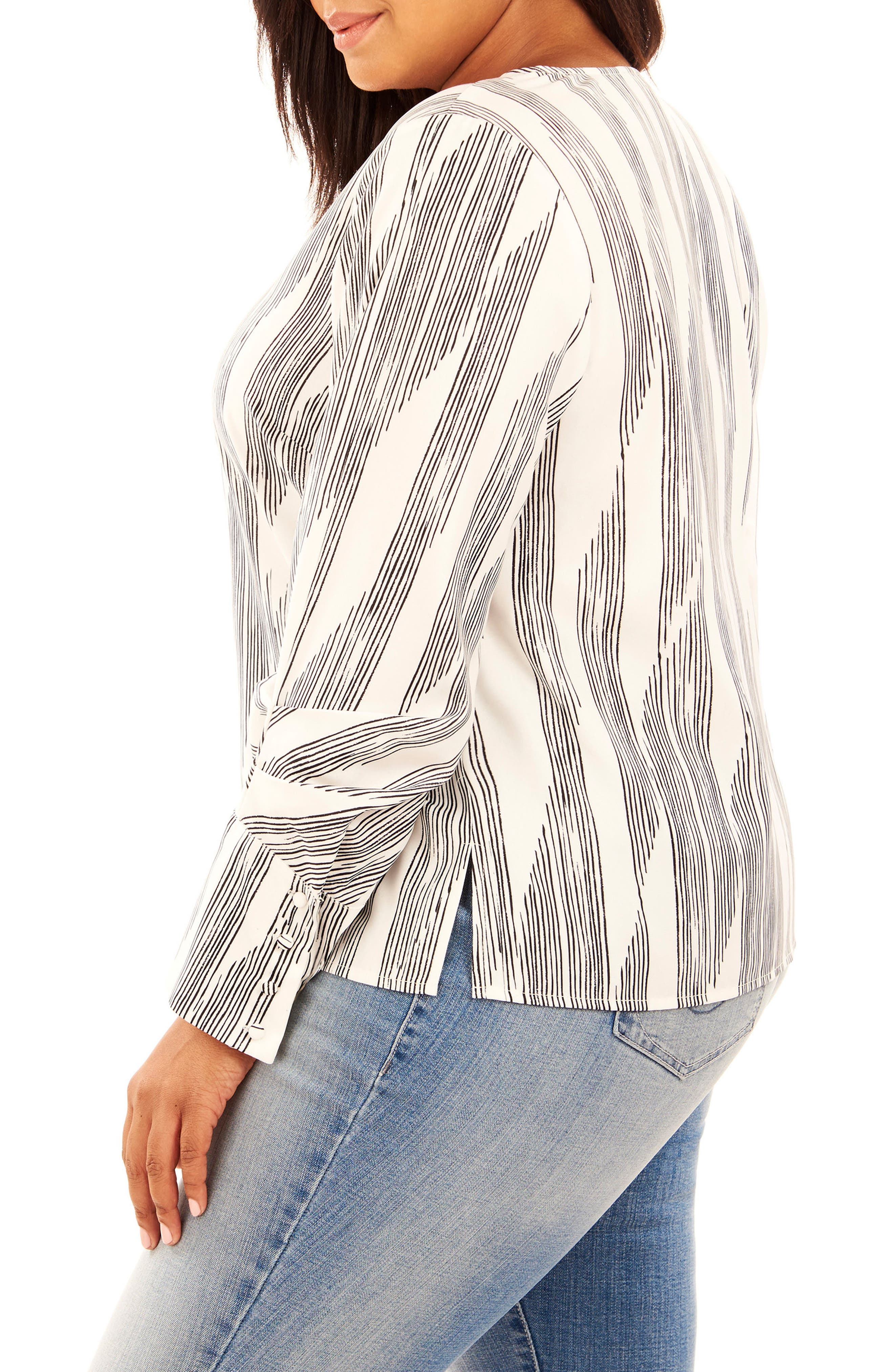 Print Pleated Sleeve Top,                             Alternate thumbnail 3, color,                             Pencil Lines